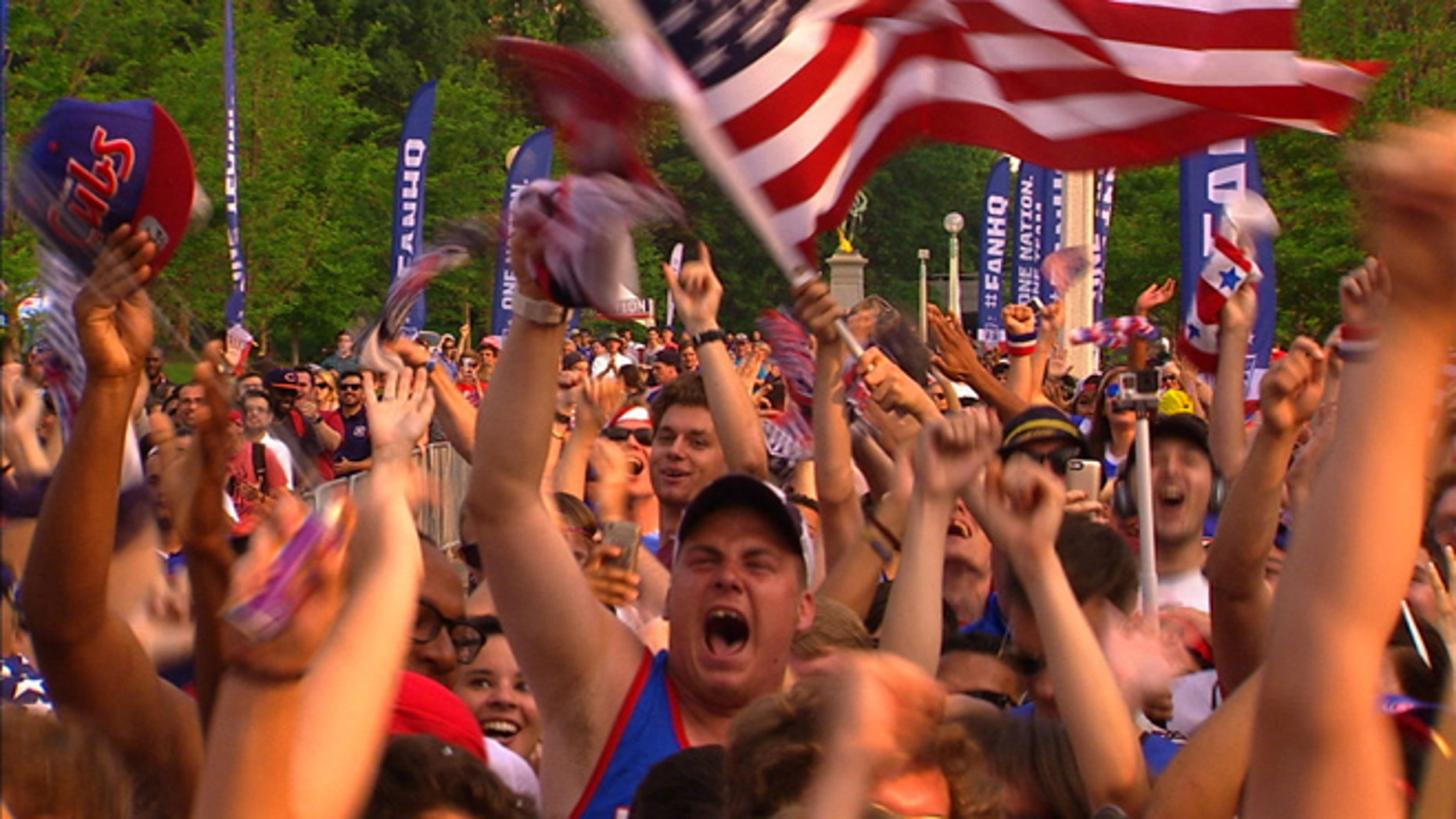 Fans in Chicago celebrate the U.S. Women's team victory in the FIFA Women's World Cup 2015.