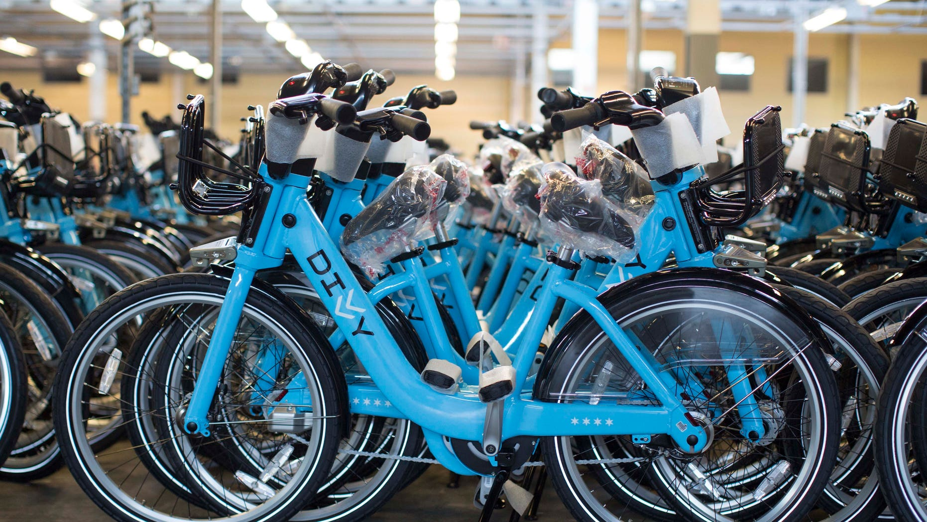June 11, 2013: In this photo, fully assembled and ready to use bikes sit at the Divvy roll-out facility in Chicago. Chicago's new bike-share program, Divvy, will start in two weeks with about 750 bikes at 75 solar-powered docking stations and expand over the next year to at least 4,000 bikes at 400 stations scattered across the city. Users can get a $75 annual membership or a $7 day pass.