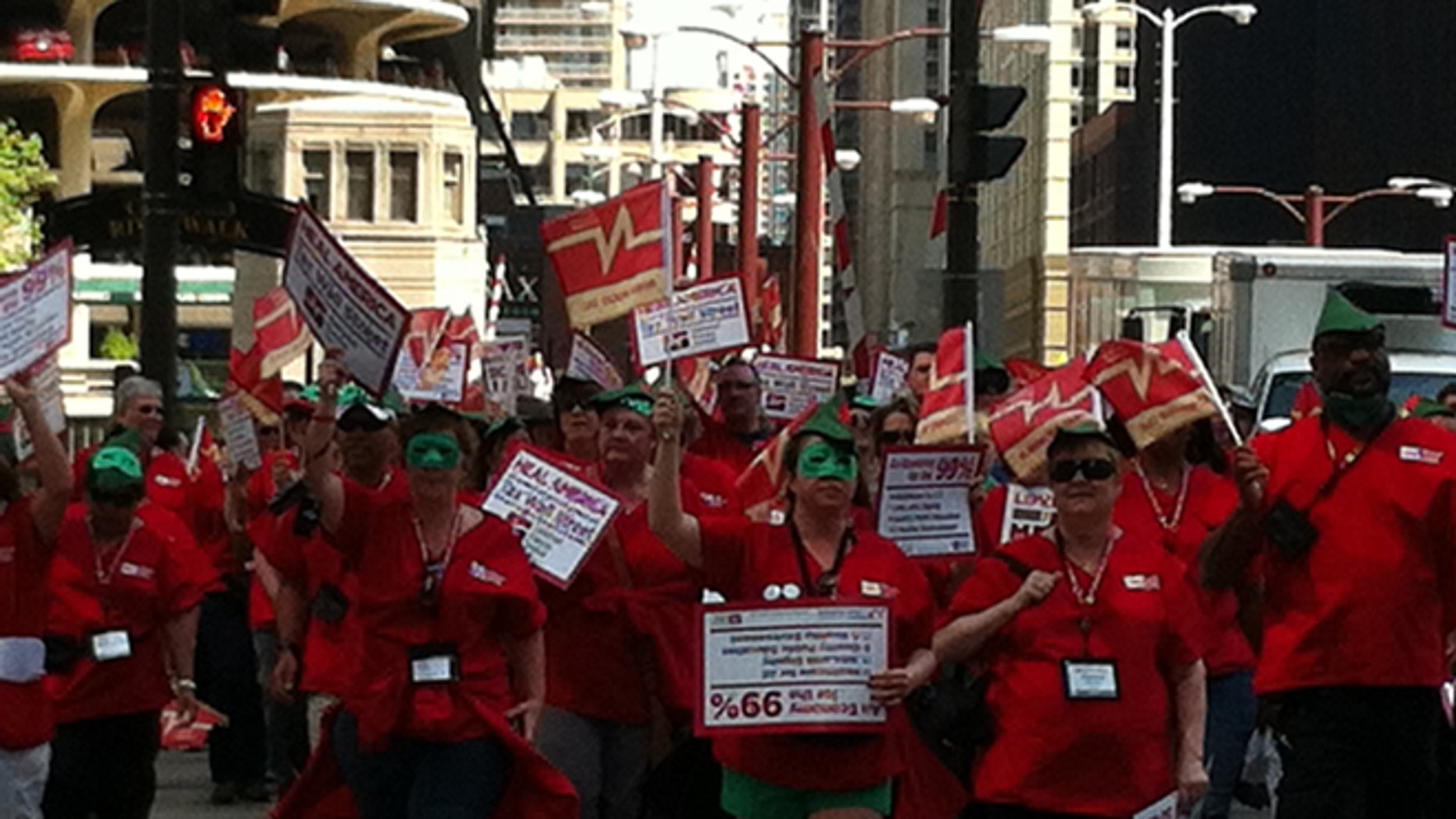 Friday, May, 18, 2012: The National Nurses United protest on Daley Plaza in Chicago.