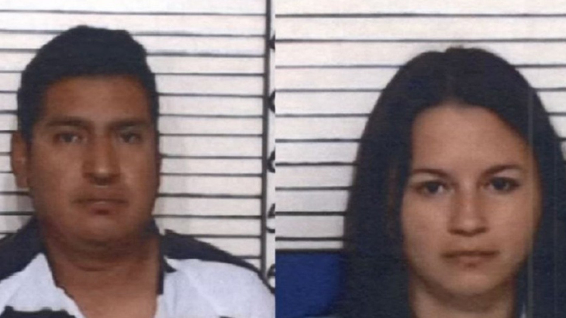 Julio Jimenez-Ramirez and Gloria Romero Perez are facing felony charges for trafficking a child and are being held at the Comal County jail on a $500,000 bond and an immigration hold. (Courtesy: Comal County Jail)