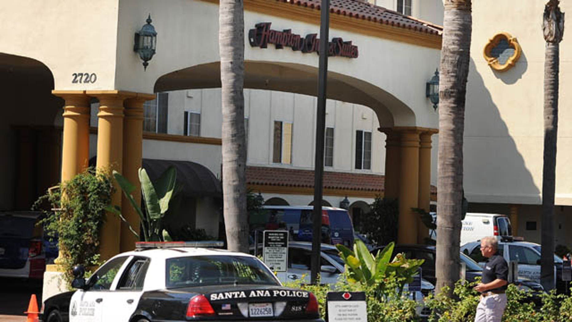 September 14, 2013: Two children were killed at the Hampton Inn Suites on Grand and Dyer in Santa Ana said Anthony Bertagna, with the Santa Ana Police Department. The mother of the children allegedly tried to commit suicide by ramming her car into a utility box behind a shopping center in Costa Mesa, Calif. (AP Photo)