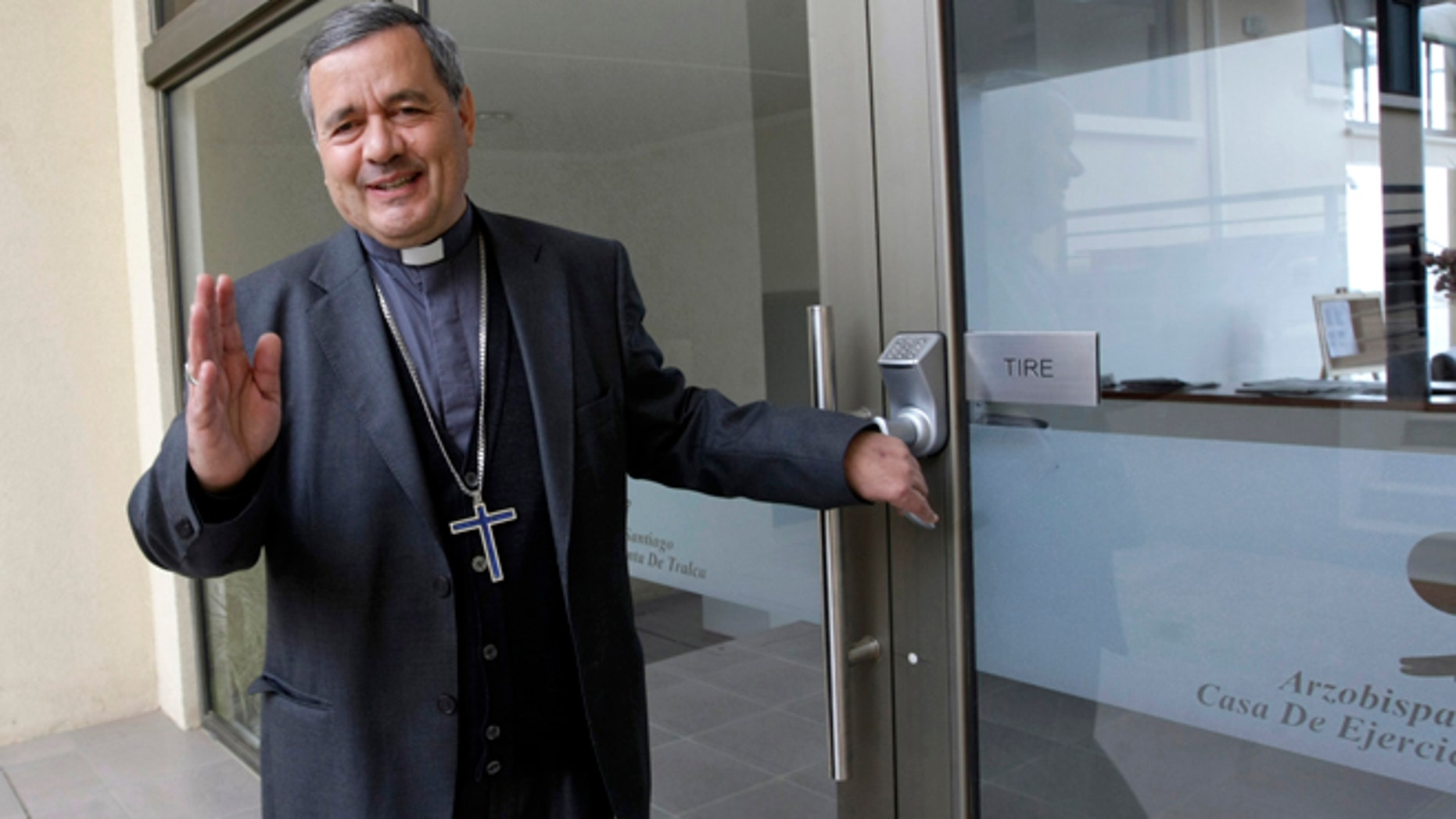 In this April 8, 2011 photo, Bishop Juan Barros arrives to the Episcopal Conference of Chile in El Quisco, Chile. Barros has been tapped by Pope Francis to become bishop of a southern Chilean diocese in March 2015, provoking an unprecedented outcry by abuse victims and Catholic faithful who contend he covered up sexual abuse committed by his mentor and superior, Rev. Fernando Karadima, in the 1980s and 90s. Barros has declined to comment publicly on allegations against him. (AP Photo/La Tercera)