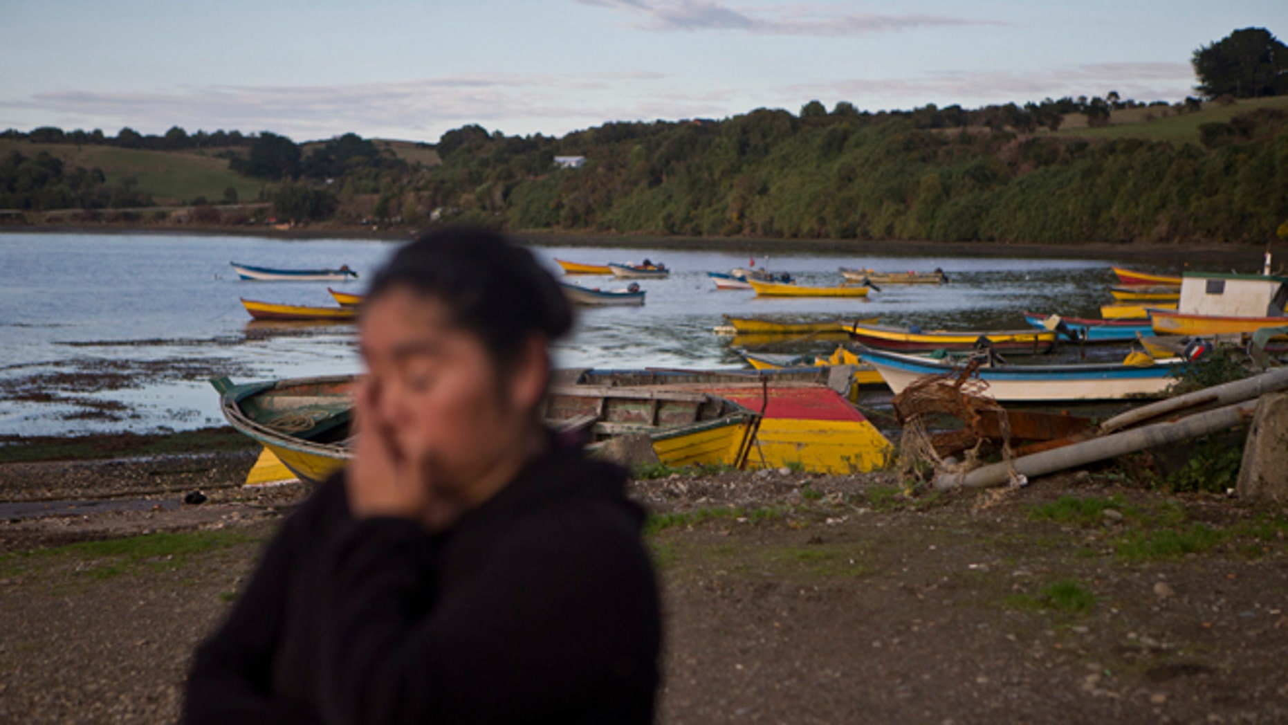 """In this May 10, 2016 photo, small scale fisherwoman Marisol Millaquien stands on the shore backdropped by idle boats in the fishing village Quetalmahue, on Chile's Chiloe Island, during the country's worst ever """"red tide"""" environmental disaster. """"They killed our ocean,"""" said Millaquien, who has been out of work for three weeks due to a toxic algal bloom that is threatening the livelihood of many in this archipelago located in the Pacific Ocean. (AP Photo/Esteban Felix)"""