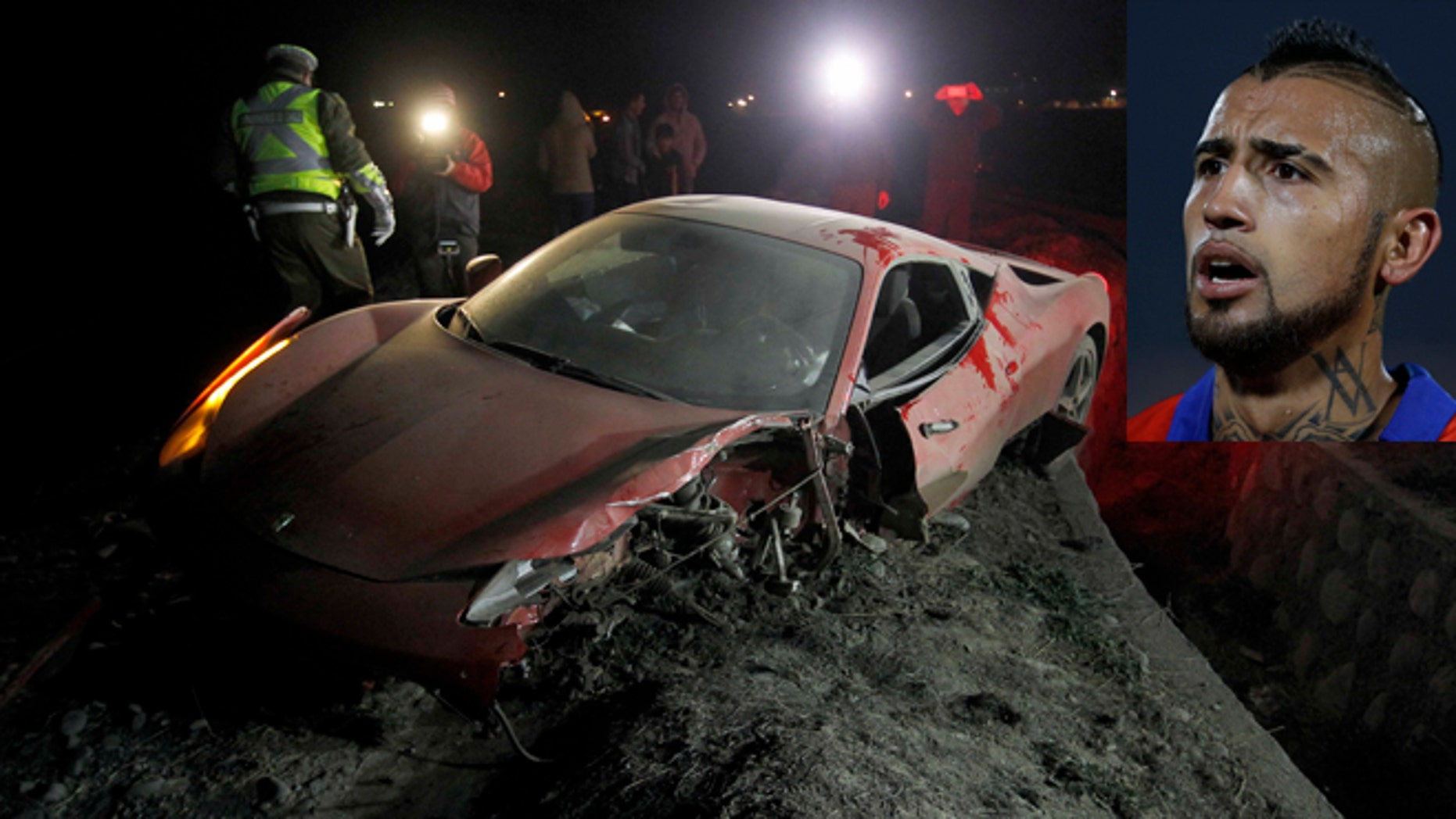 Arturo Vidal's wrecked vehicle after he crashed it near Santiago, Chile, Tuesday, June 16, 2015.