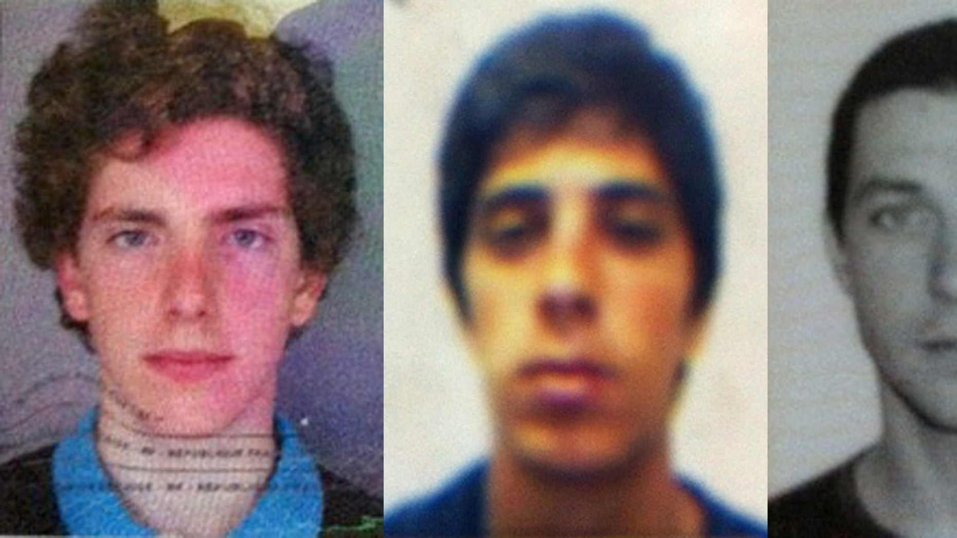 This combination of passport photos provided by Chile's ONEMI or regional emergency office, shows from left to right, Gillhem Bellon, 25, of France; Luca Ogliengo, 25, of Italy; and Dmitry Sivenkov, 32, of Russia, three European tourists hiking around the Villarica volcano in Chile's central valley, who haven't been heard from since Wednesday evening, Nov. 7, 2012 .