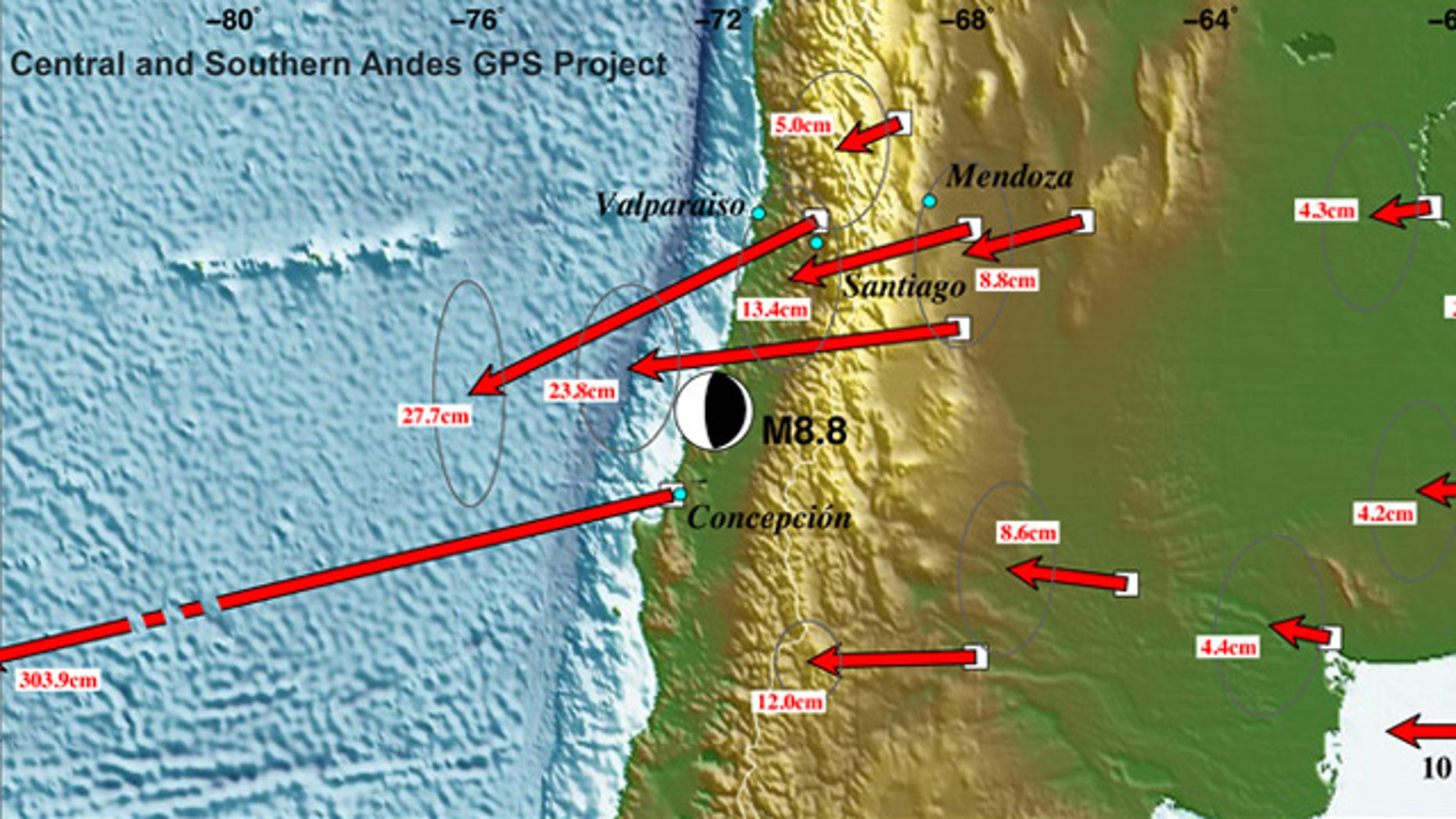 A preliminary map reveals Significant displacements as far east as Buenos Aires, Argentina and as far north as the Chilean border with Peru, thanks to the massive earthquake.