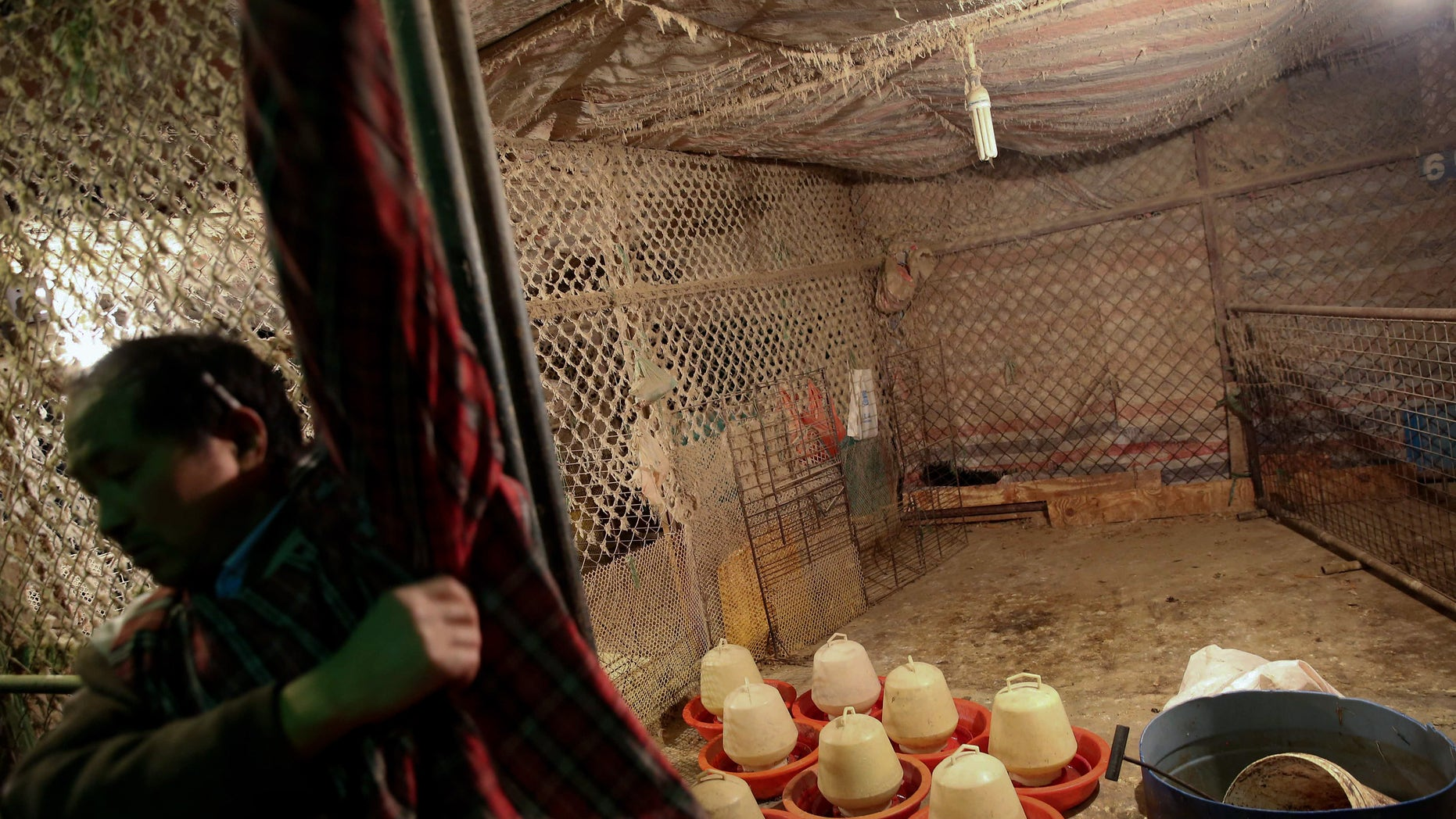April 5, 2013: In this photo a poultry vendor walks past his empty shop at a wholesale market in Shanghai.