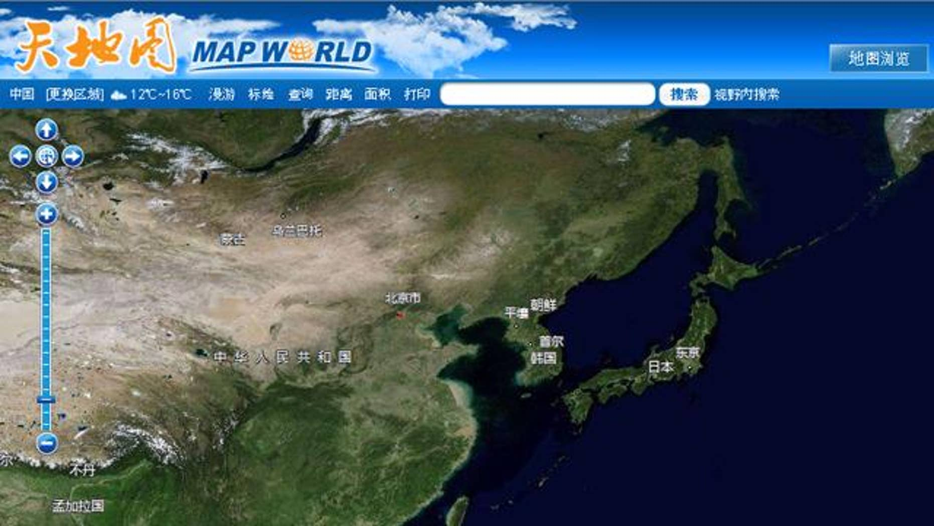 """A screenshot of China's """"Map World,"""" the country's home-grown answer to Google's popular Earth satellite mapping app."""