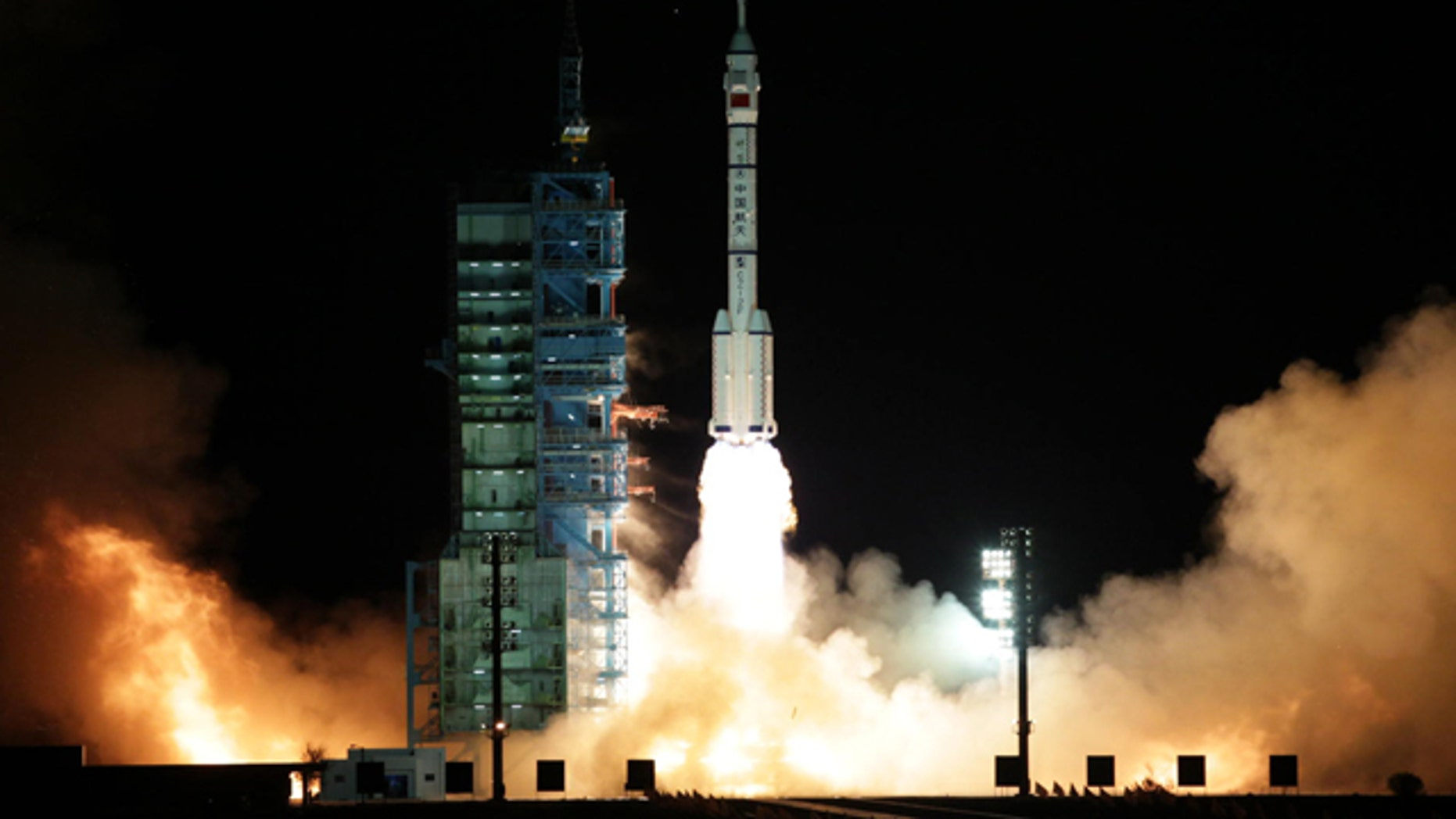 Nov. 1, 2011: A modified model of the Long March CZ-2F rocket carrying the unmanned spacecraft Shenzhou-8 blasts off from the launch pad at the Jiuquan Satellite Launch Center in northwest China's Gansu Province, the Chinese state media reported. It is the latest step in what will be a decade-long effort by China to place a manned permanent space station in orbit.