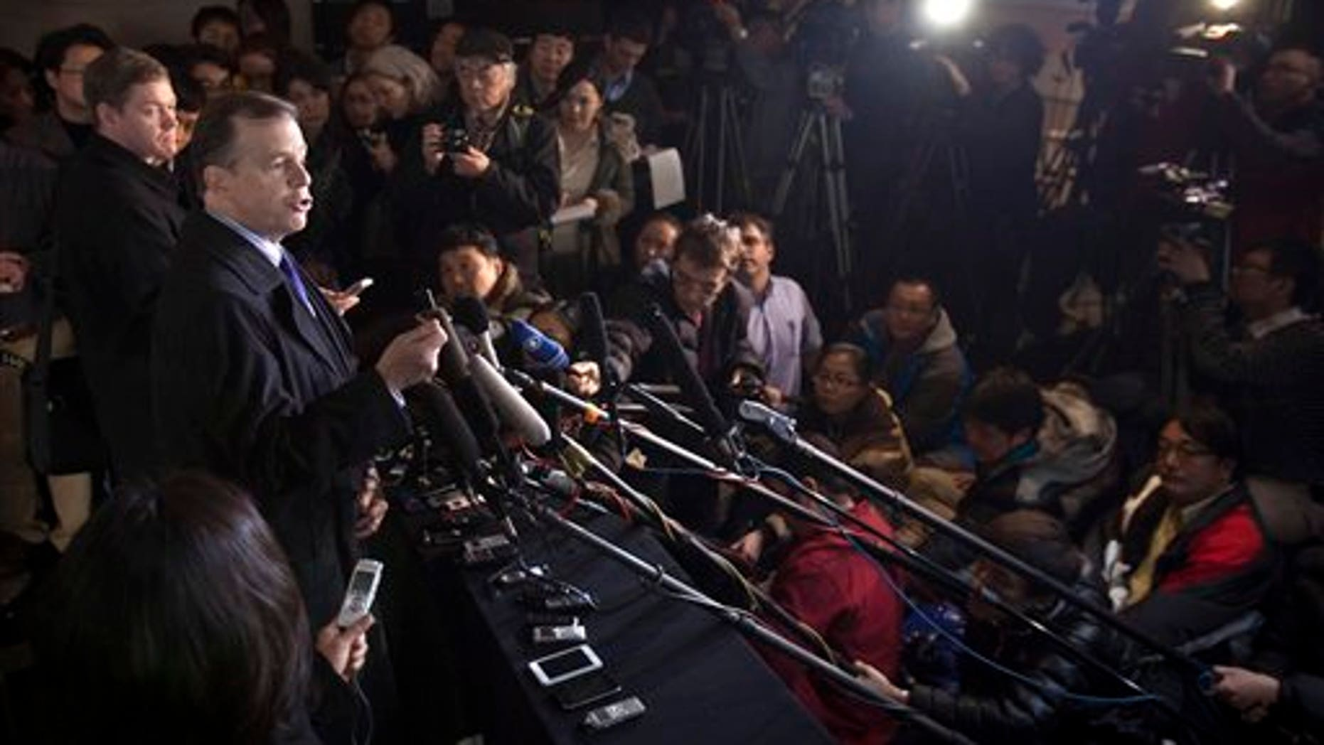 Feb. 22: U.S. Special Representative for North Korea Affairs Glyn Davies speaks to journalists upon arrival at a hotel in Beijing, China.