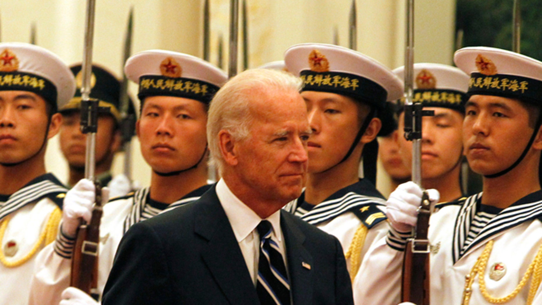 Aug. 18: U.S. Vice President Joseph Biden inspects a guard of honor during a welcome ceremony held at the Great Hall of the People in Beijing, China.