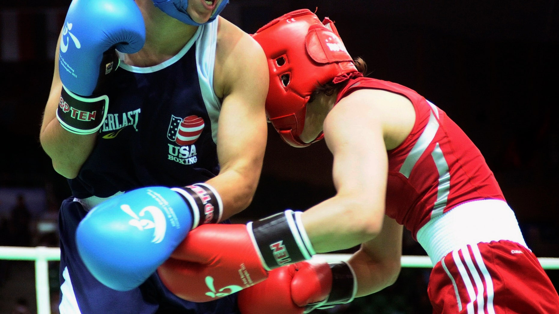 May 15, 2012: Marlen Esparza of the United States, left, fights with Thi Duyen Luu of Vietnam during their women's flyweight category preliminary match of the AIBA World Women's Boxing Championships in Qinhuangdao, north China's Hebei province.