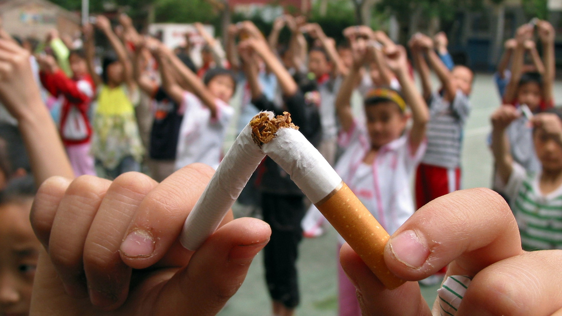 Pupils break cigarettes as a gesture showing their determinations of non-smoking at an elementary school of Jinan, the capital eastern China's Shandong province. (REUTERS/Stringer)