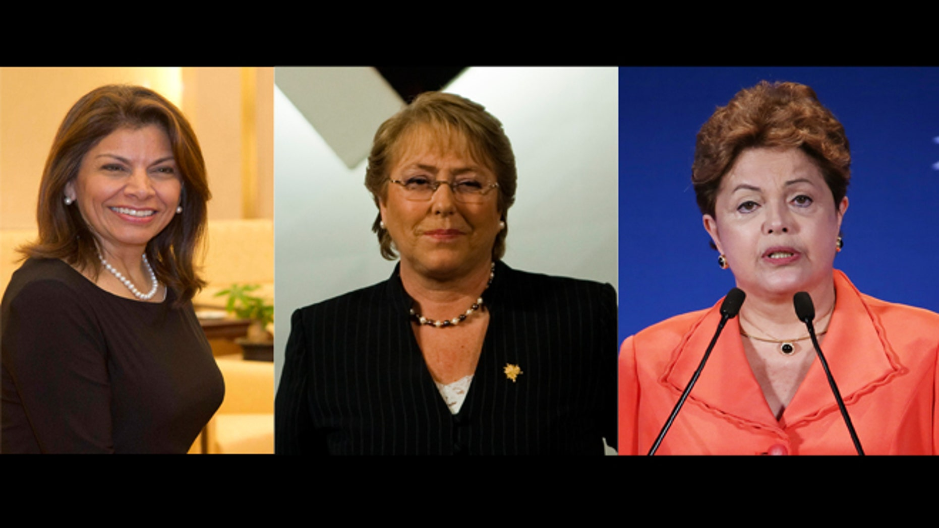 Costa Rican President Laura Chinchilla, Chilean President-Elect Michelle Bachelet and Brazilian President Dilma Rousseff.