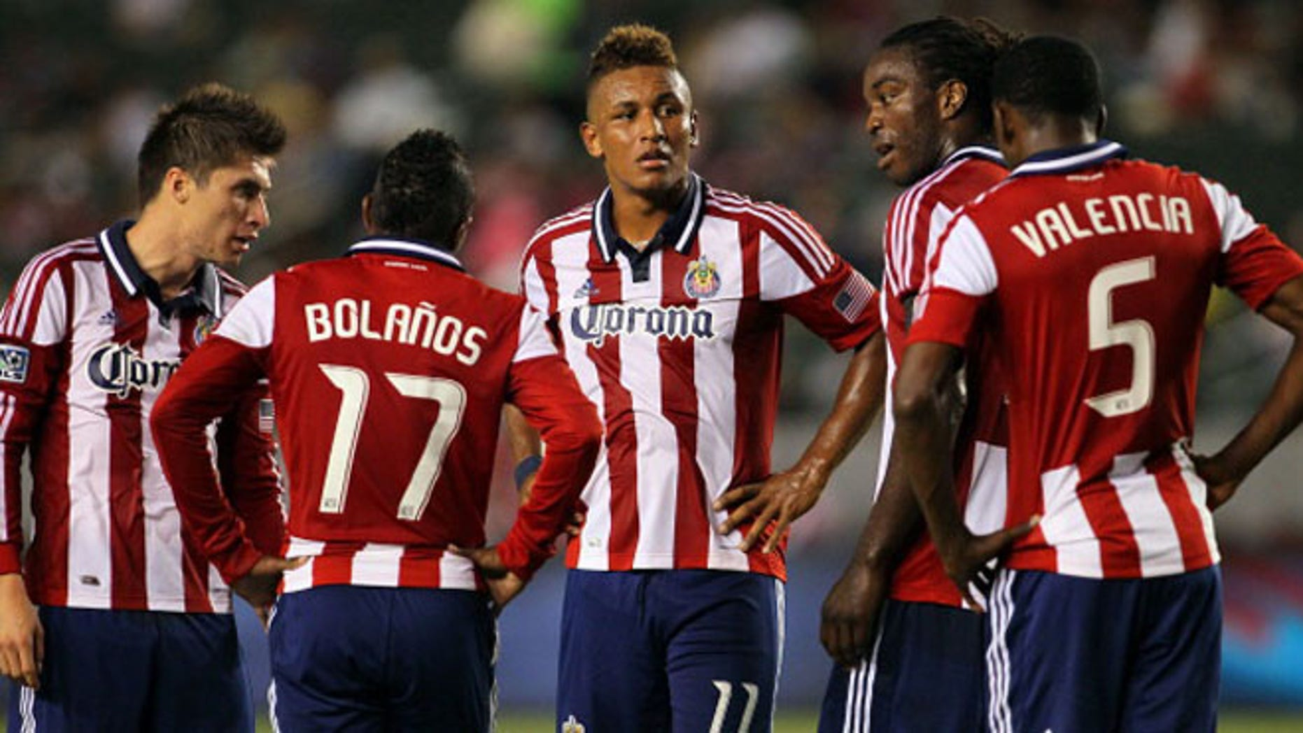 CARSON, CA - SEPTEMBER 15:  Juan Agudelo #11 of Chivas USA and his teammates look on prior to a penalty kick being awarded to the San Jose Earthquakes  during the MLS match at The Home Depot Center on September 15, 2012 in Carson, California. The Earthquakes defeated Chivas USA 2-0.  (Photo by Victor Decolongon/Getty Images)