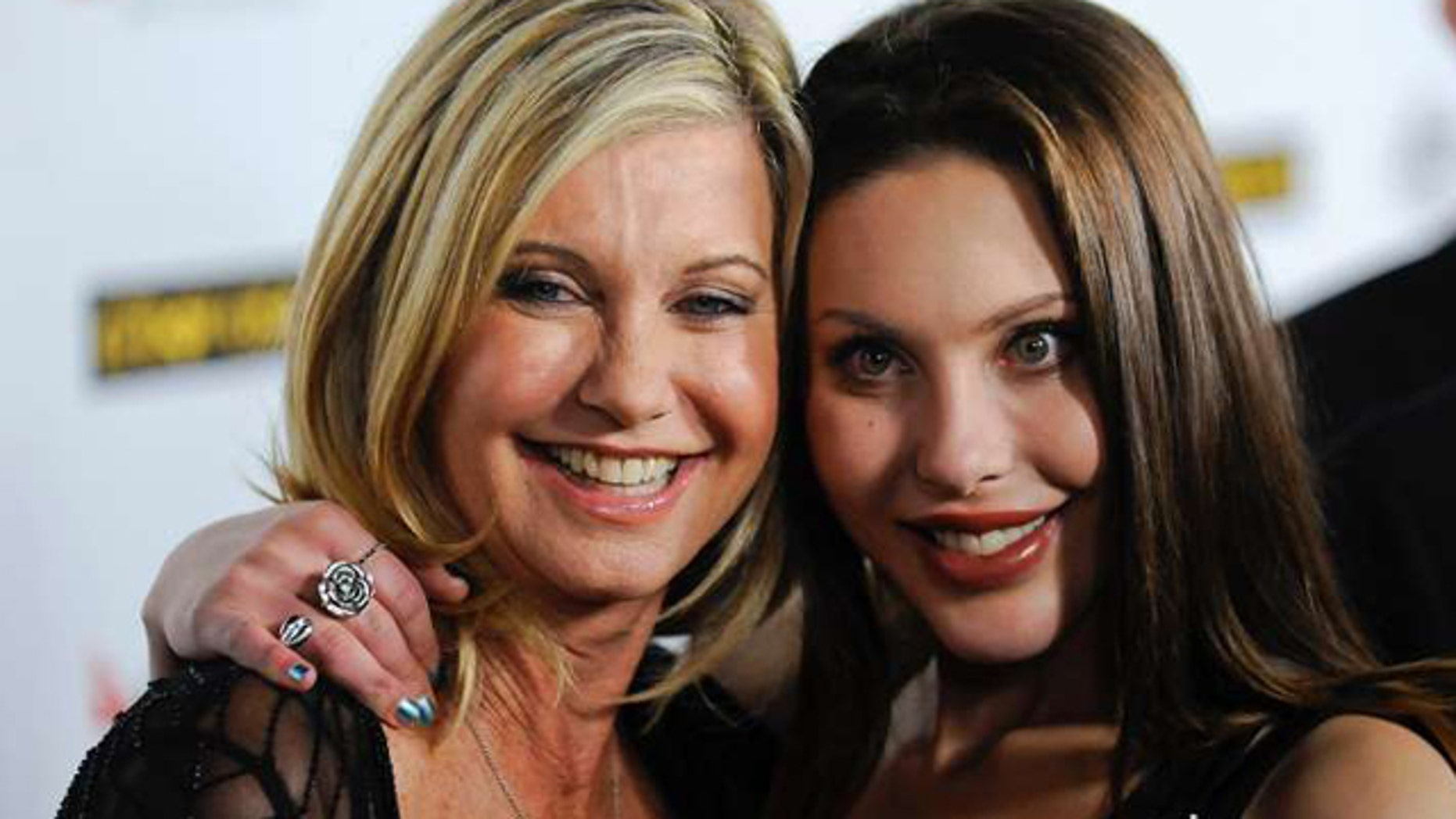 """Oct. 8, 2015: Olivia Newton-John and daughter Chloe Lattanzi are pictured promoting Lattazi's single """"You Have to Believe"""", a cover of Newton-John's 1980 hit """"Magic"""" (Reuters/Gus Ruelas)"""