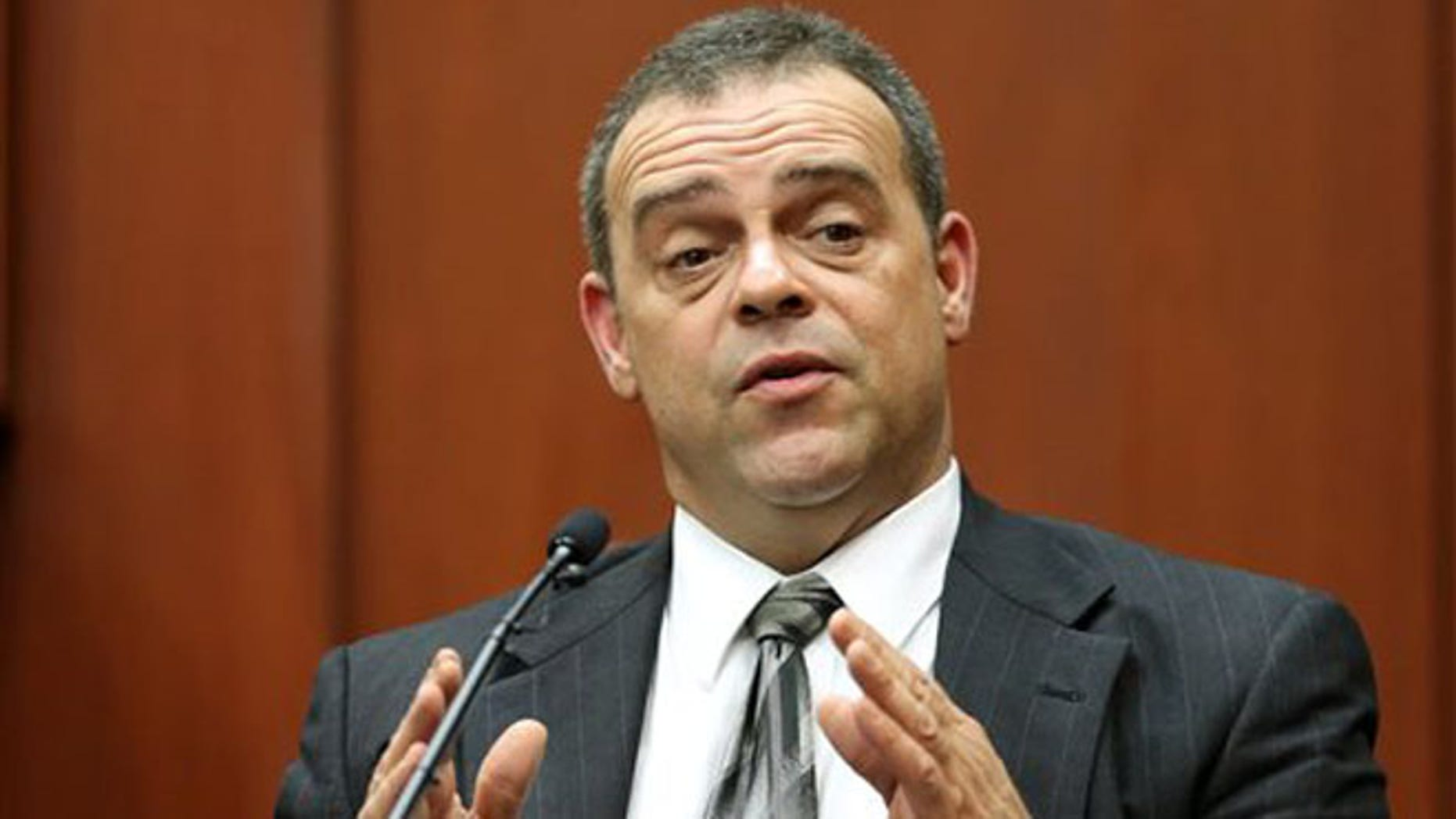 Sanford police officer Chris Serino testifies during the George Zimmerman trial in Seminole Circuit Court, in Sanford, Fla., Monday, July  8, 2013.