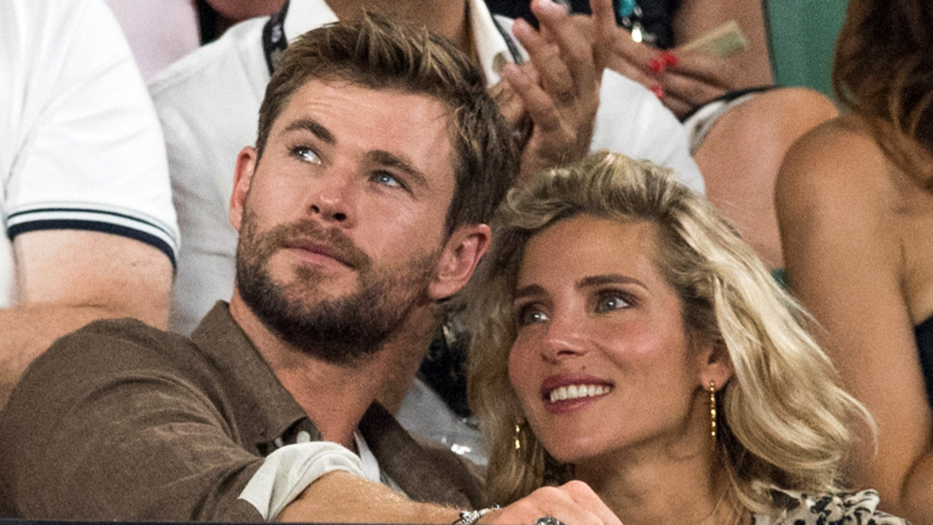 """""""Avengers: Infinity War"""" actor Chris Hemsworth is pictured with his wife, actress Elsa Pataky."""