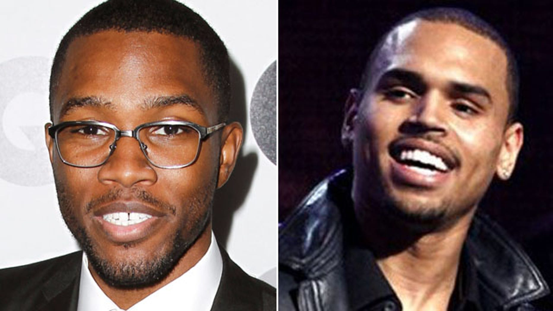 Frank Ocean, left, and Chris Brown.