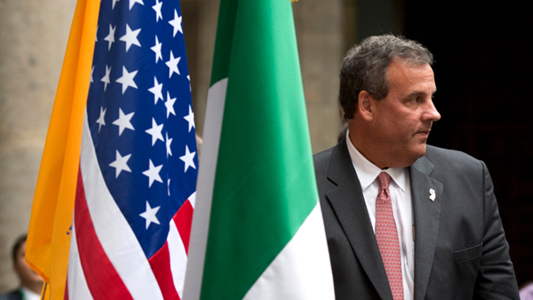 New Jersey Gov. Chris Christie, right, walks off the dais after an event to sign a higher education agreement between New Jersey and Mexico, at the Secretariat of Public Education in Mexico City, Thursday, Sept. 4, 2014. The potential 2016 U.S. presidential contender has called his three-day trade mission to Mexico a learning opportunity. (AP Photo/Rebecca Blackwell)