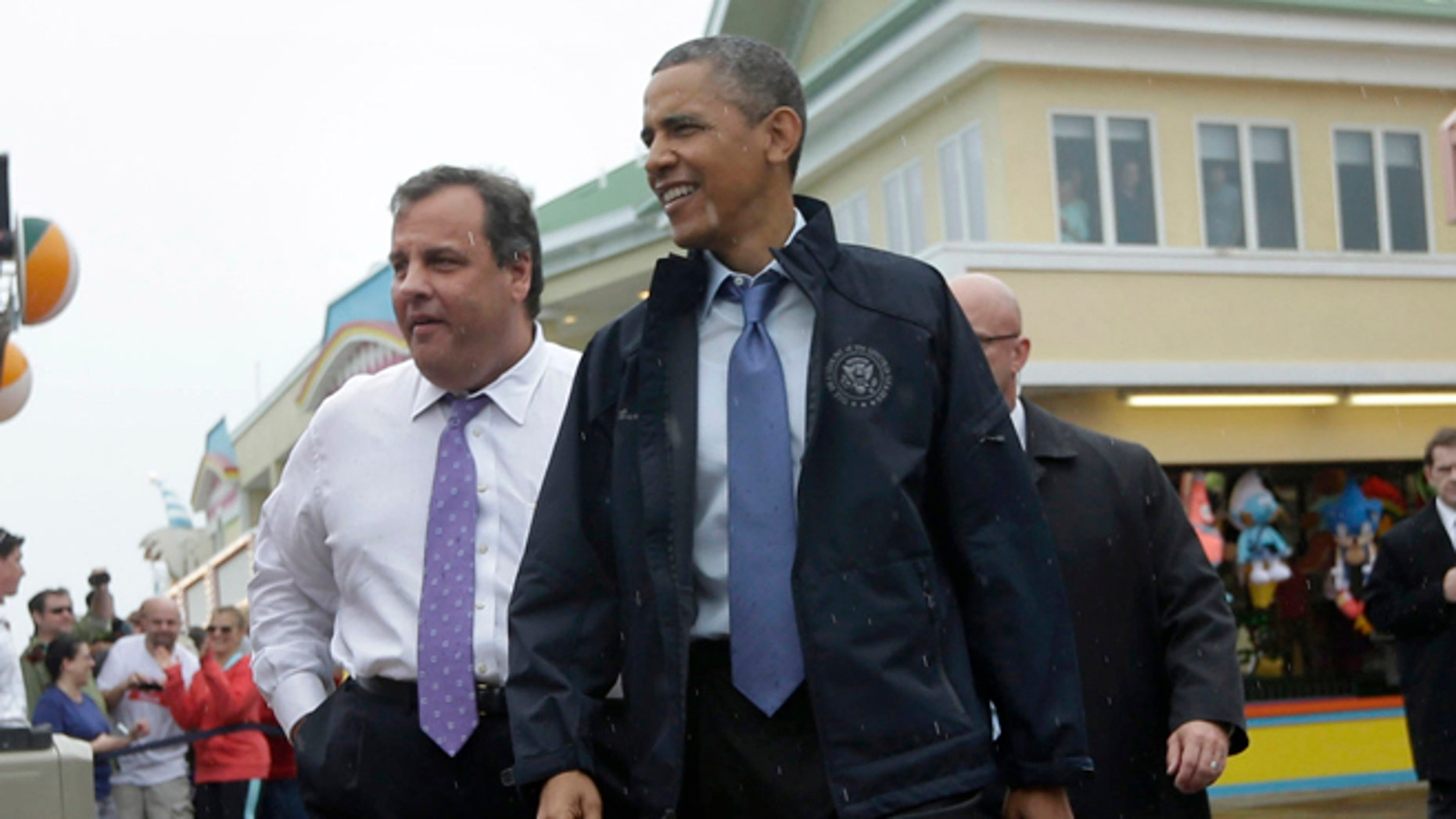 May 28, 2013.New Jersey Gov. Chris Christie and President Obama on the boardwalk in Point Pleasant, N.J., during and inspection tour of the Jersey Shore's recovery from Hurricane Sandy.