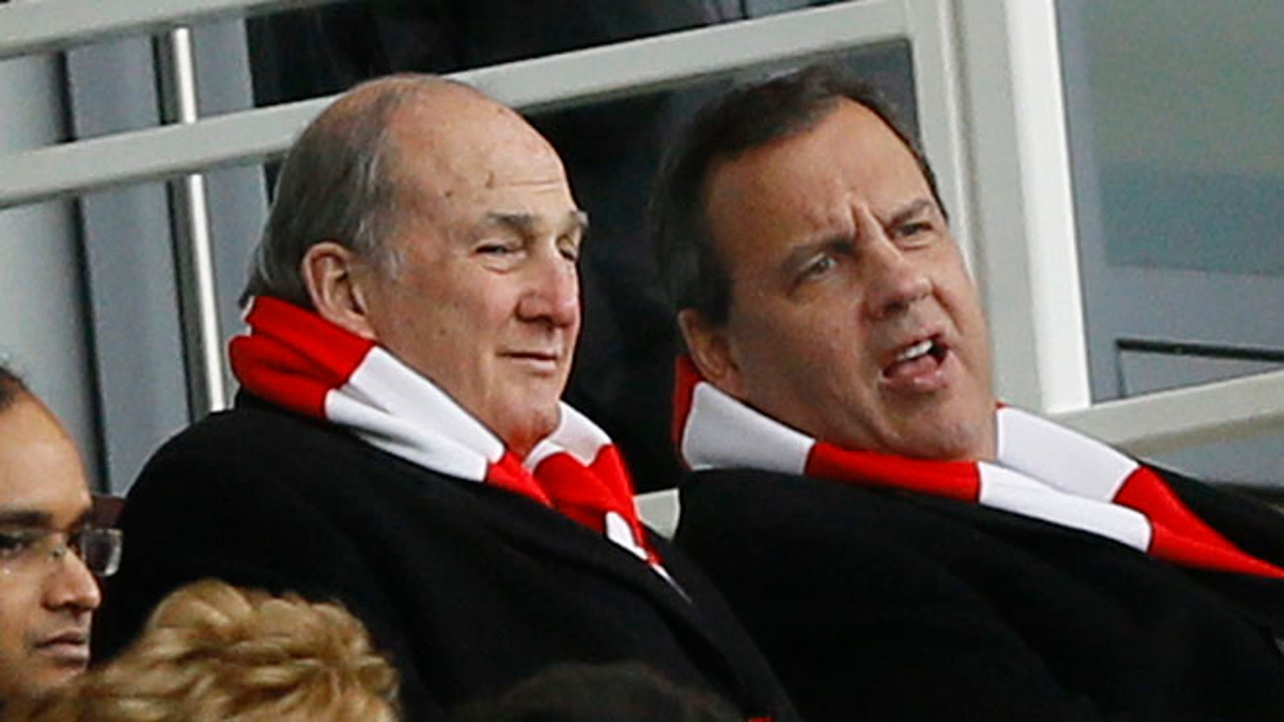Feb. 1, 2015: New Jersey Gov. Chris Christie, top right, watching an English Premier League soccer match between Arsenal and Aston Villa at the Emirates stadium in London, England.