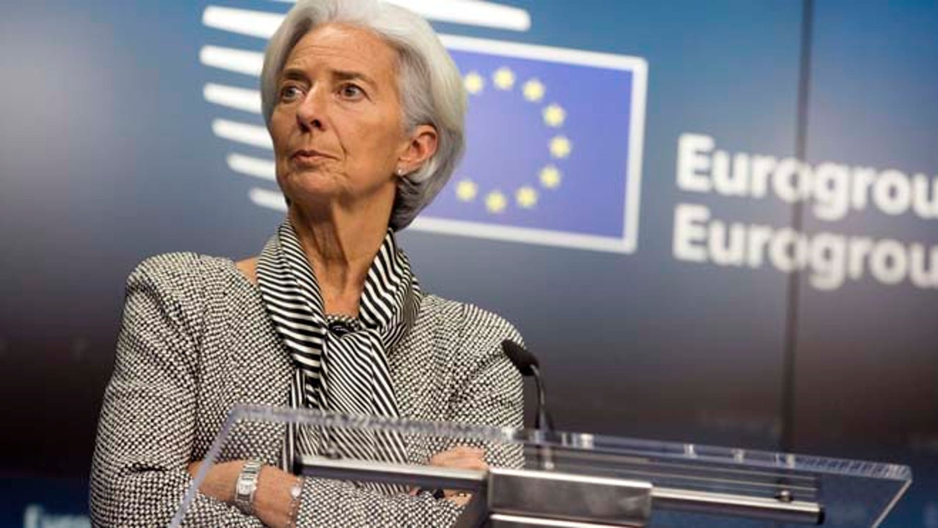 Feb. 20, 2015: Managing Director of the International Monetary Fund Christine Lagarde waits for the start of a media conference after a meeting of eurogroup finance ministers in Brussels. (AP)