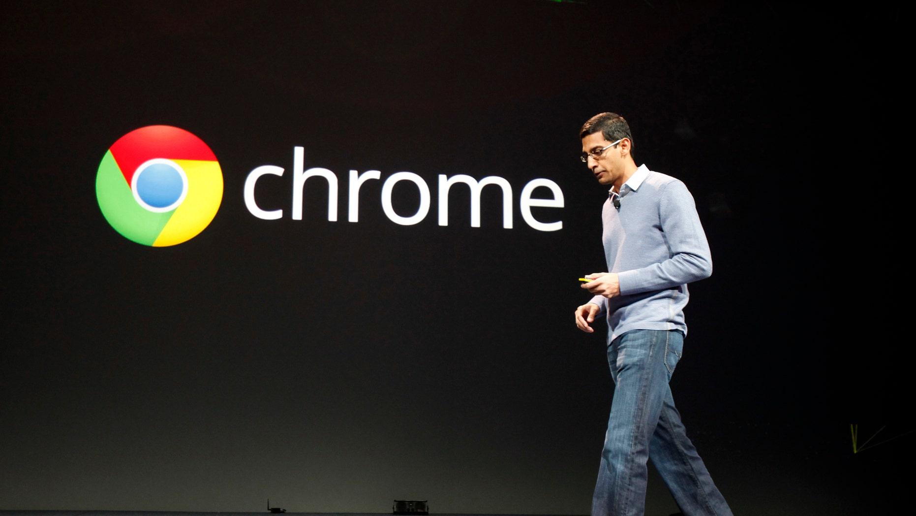 Sundar Pichai, senior vice president of Google Chrome, speaks during Google I/O Conference at Moscone Center in San Francisco.