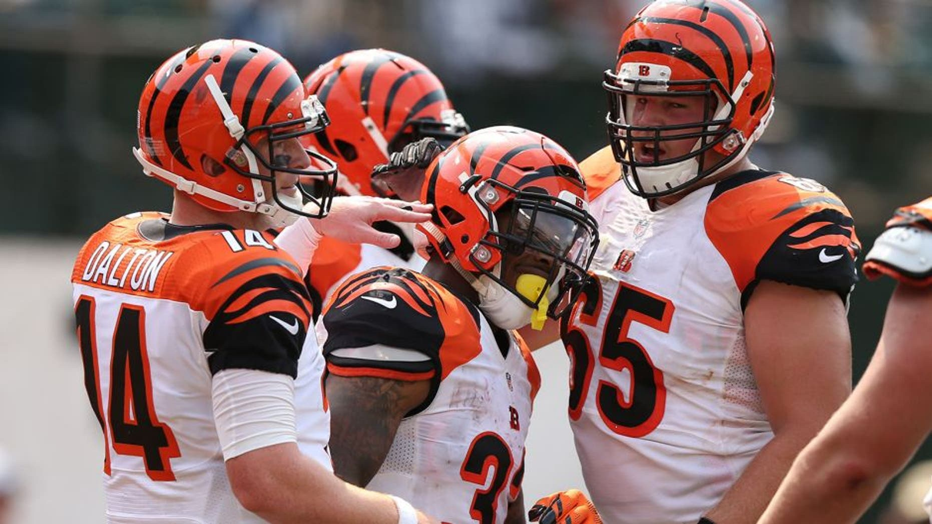 OAKLAND, CA - SEPTEMBER 13: Jeremy Hill #32 of the Cincinnati Bengals celebrates his second touchdown with Andy Dalton #14 and Clint Boling #65 in the first half of their NFL game against the Oakland Raiders at O.co Coliseum on September 13, 2015 in Oakland, California. (Photo by Ezra Shaw/Getty Images)