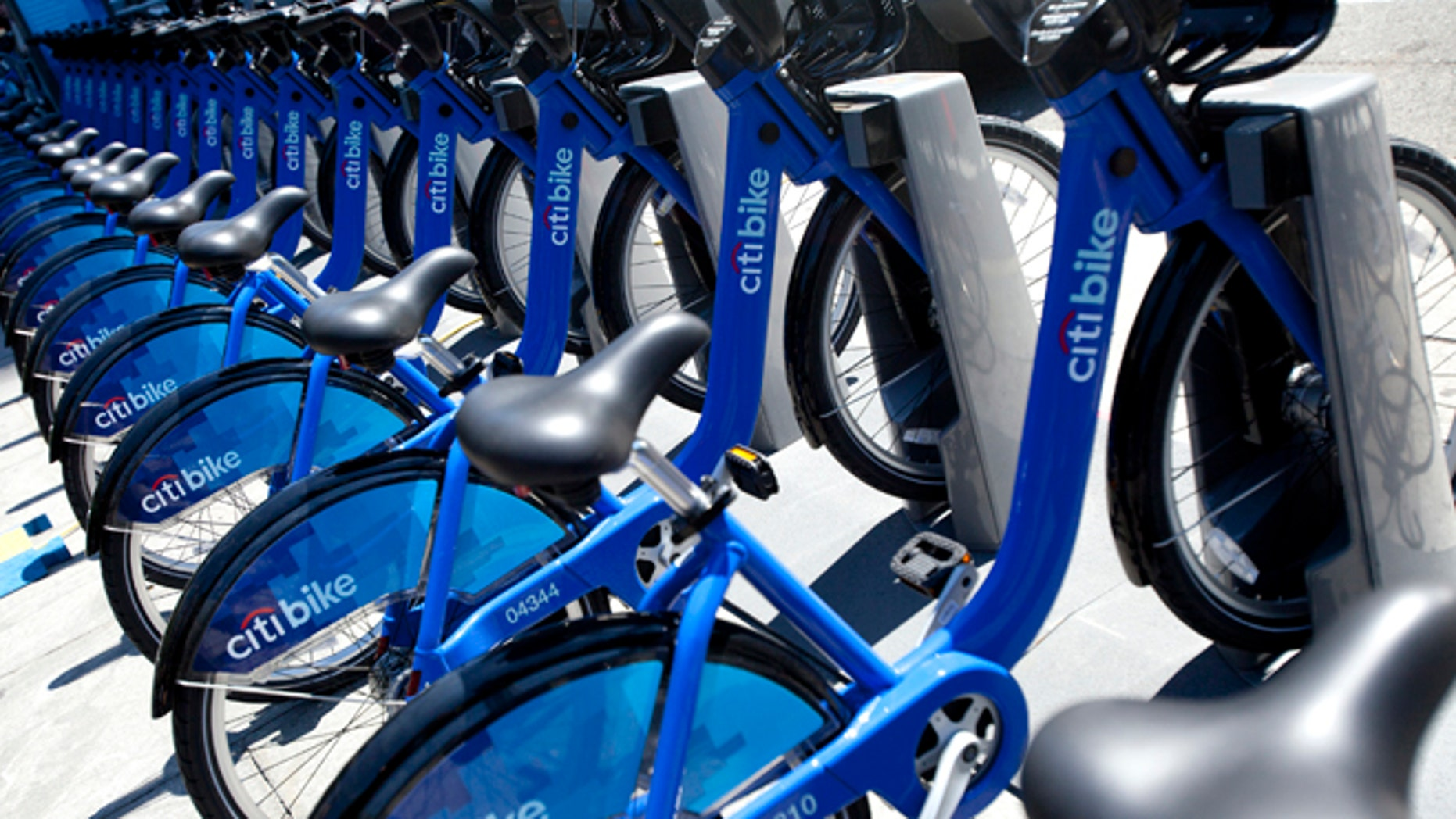 FILE: May 27, 2013: A rack of Citi Bike bicycles in New York City, N.Y.