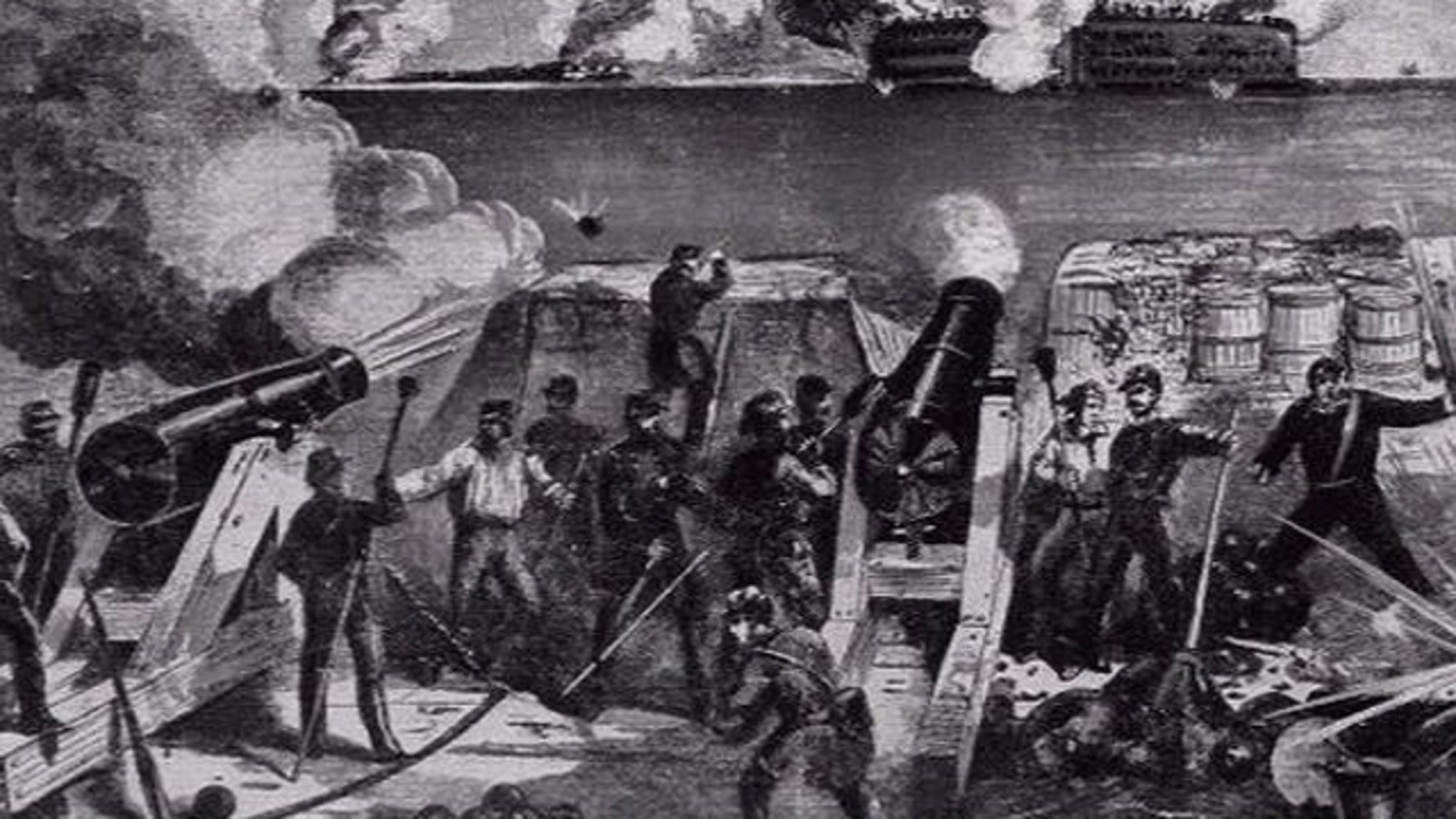 A black and white etching depicts Confederate soldiers fire on Fort Sumpter, beginning the U.S. Civil War.