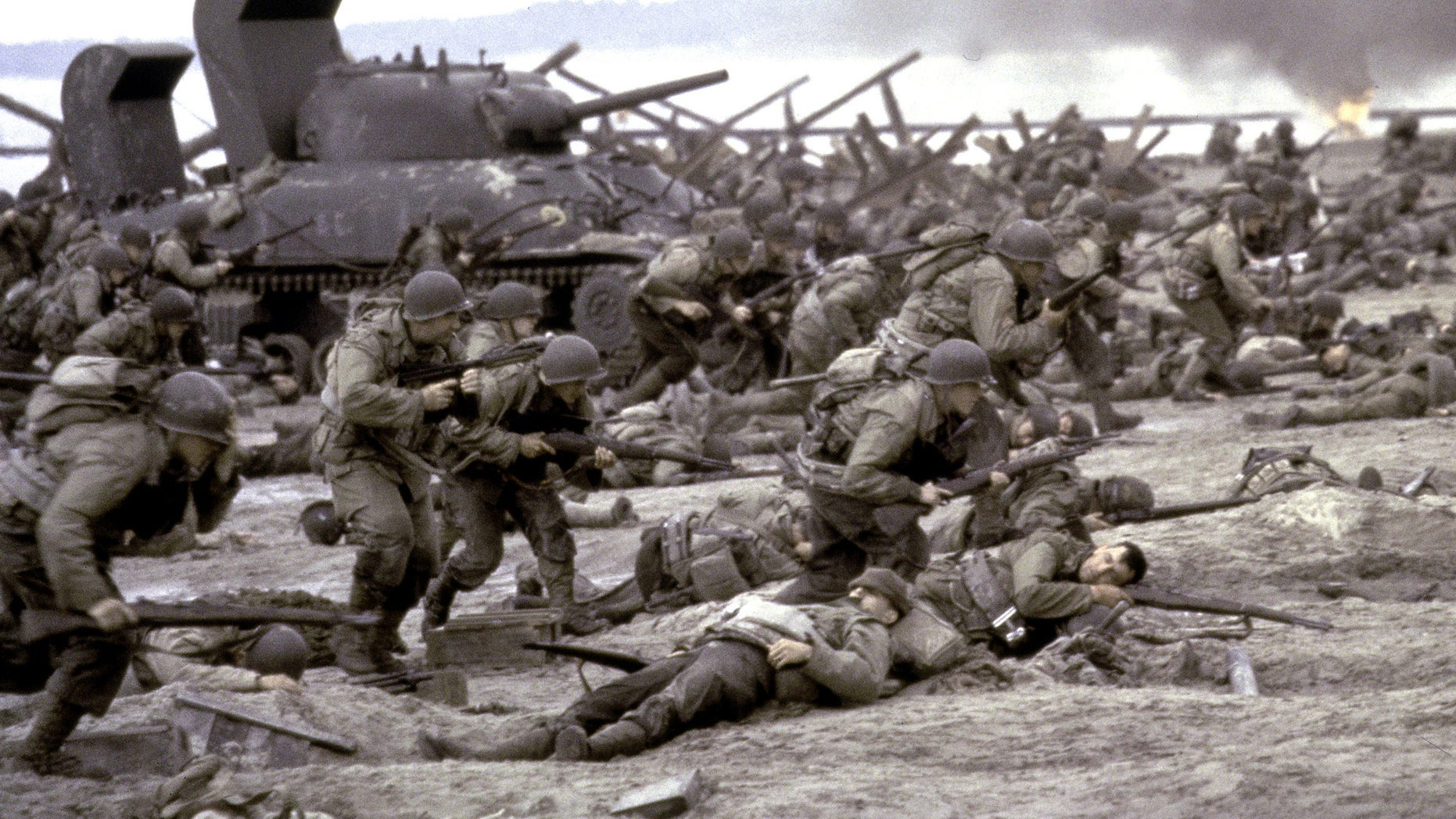 """FILE - This photo released by DreamWorks shows a scene form  the 1998 film """"Saving Private Ryan.""""  Saving Private Ryan and Ferris Buellers Day Off are among 25 movies being inducted this year into the National Film Registry for long-term preservation, the Library of Congress announced Wednesday Dec. 17, 2014. (AP Photo/DreamWorks, David James, File)"""