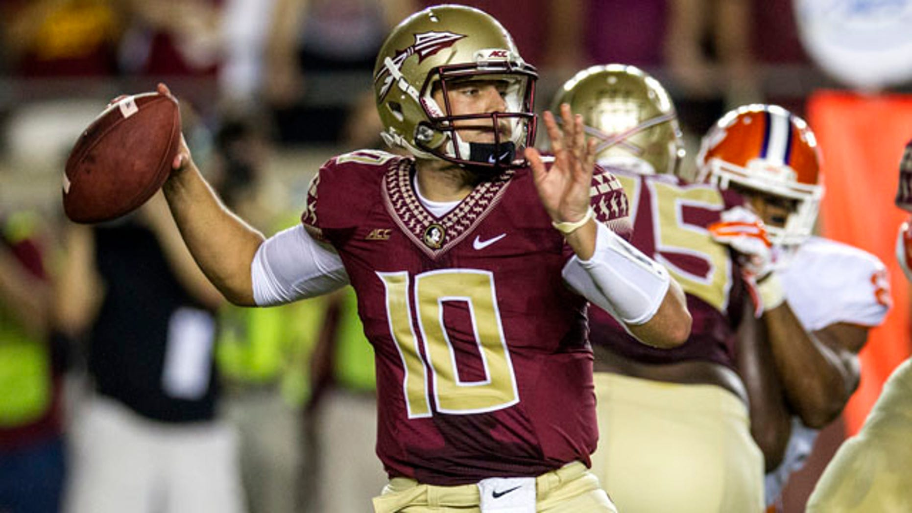 September 20, 2014: Florida State quarterback Sean Maquire throws a pass in the first half of an NCAA college football game against Clemson in Tallahassee, Fla. FSU quarterback Jameis Winston was suspended for the game. (AP Photo/Mark Wallheiser)