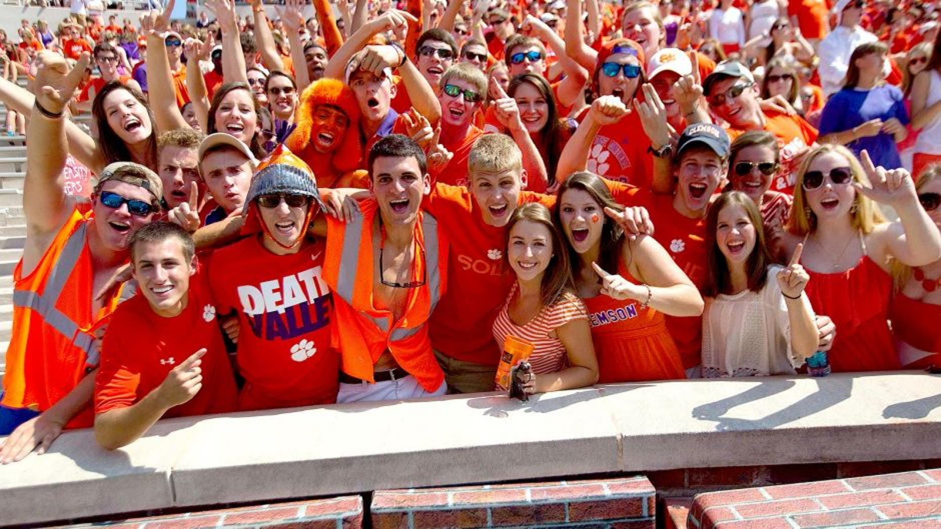 Sep 7, 2013; Clemson, SC, USA; Clemson Tigers fans during the third quarter against the South Carolina State Bulldogs at Clemson Memorial Stadium. Mandatory Credit: Joshua S. Kelly-USA TODAY Sports