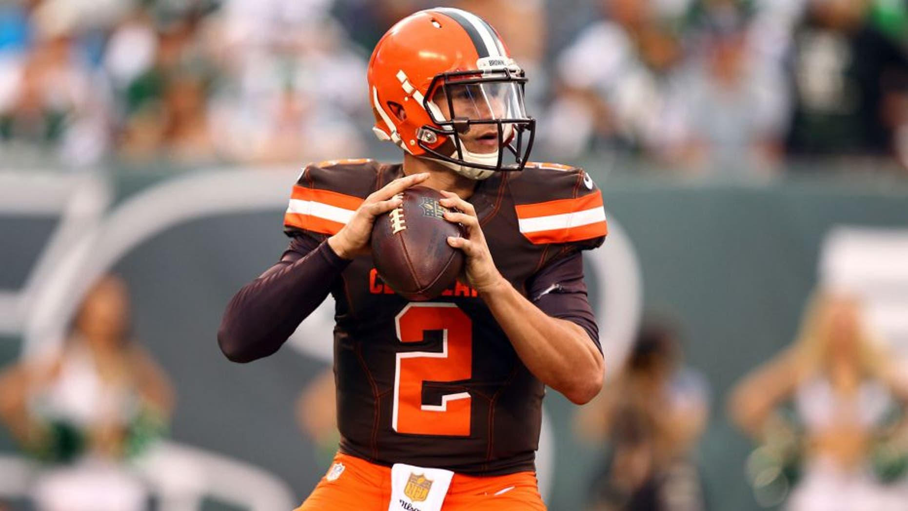 Sep 13, 2015; East Rutherford, NJ, USA; Cleveland Browns quarterback Johnny Manziel (2) looks to throw against the New York Jets during the second half at MetLife Stadium. Mandatory Credit: Danny Wild-USA TODAY Sports