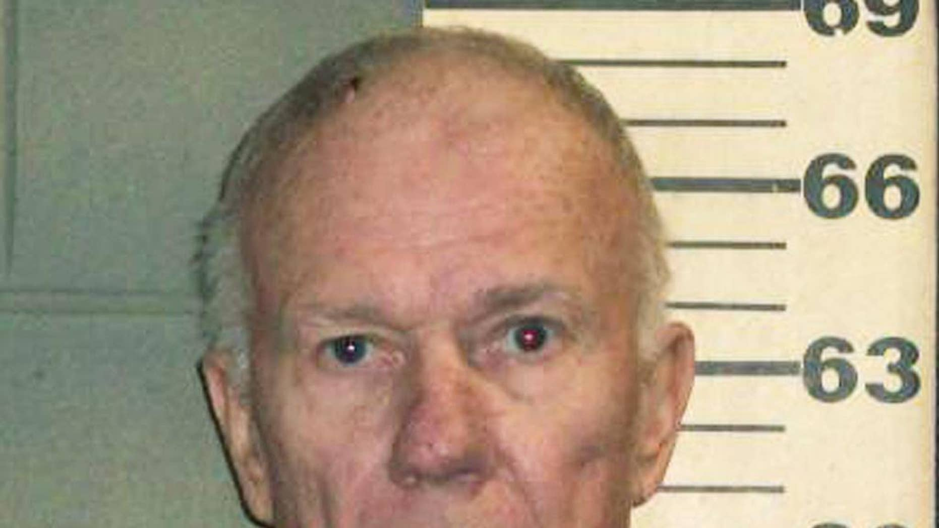 FILE - This undated file booking photo released by the Knox County Sheriff's Office shows Charles Black, found guilty in a Rockland, Maine, court Monday, July 21, 2014, of six felonies for bashing his then-wife Lisa Zahn on the head with a rock and pushing her off a cliff in in April 2011 in Maine's Camden Hills State Park. Both Zahn and Black, retired teachers from Kansas who had moved to Maine, tumbled down the mountainside and both were hospitalized for more than a week. They had argued over an affair Black had with an Arizona woman and how he spent money from the inheritance, which was from her father.(AP Photo/Knox County Sheriff's Office, File)
