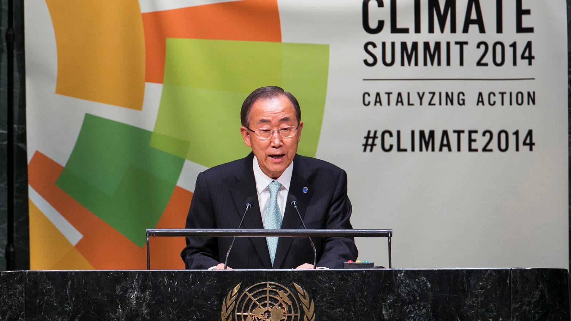 U.N. Secretary General Ban Ki-moon speaks during the Climate Summit.