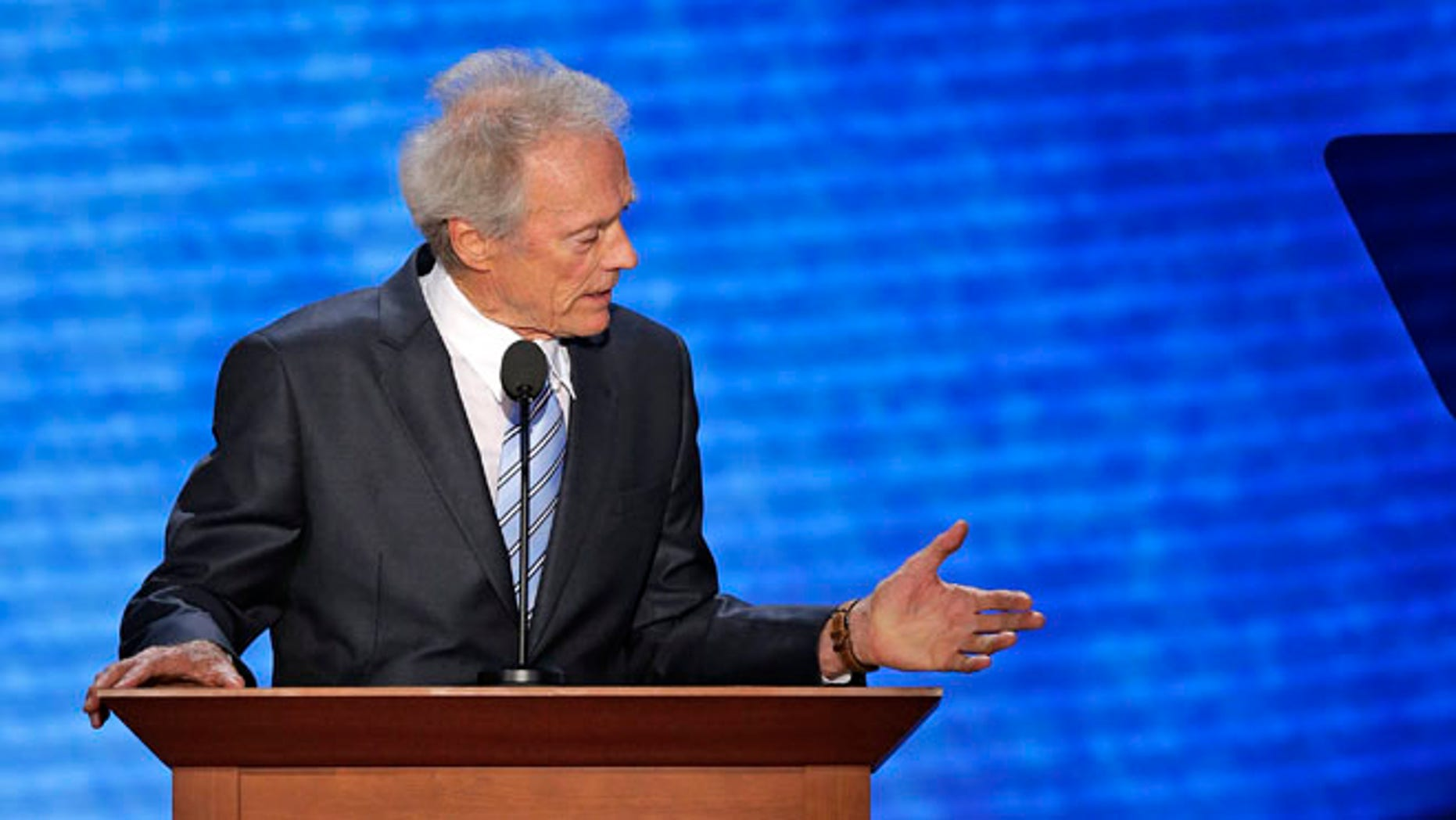 Aug. 30, 2012: Actor Clint Eastwood talks to an empty chair during his address to the Republican National Convention in Tampa, Fla. (AP)