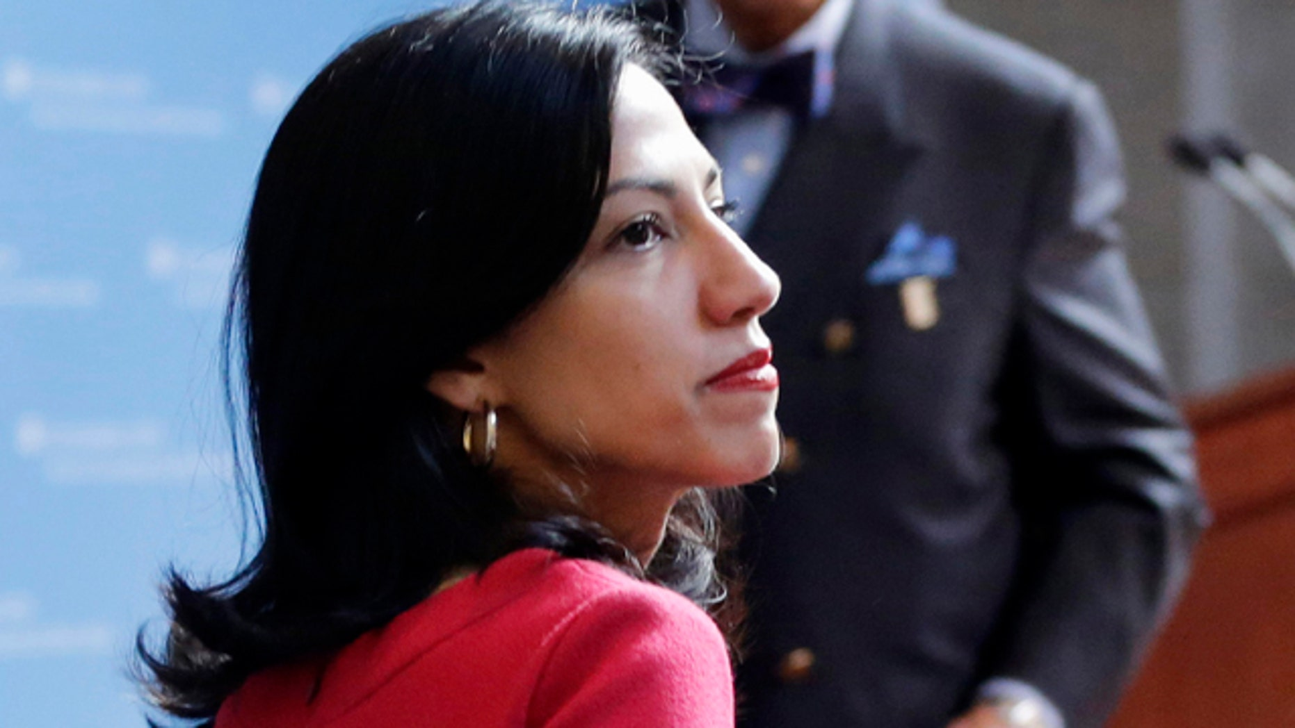 FILE - In this April 29, 2015 file photo, Huma Abedin is seen in New York. (AP Photo/Mark Lennihan, File)