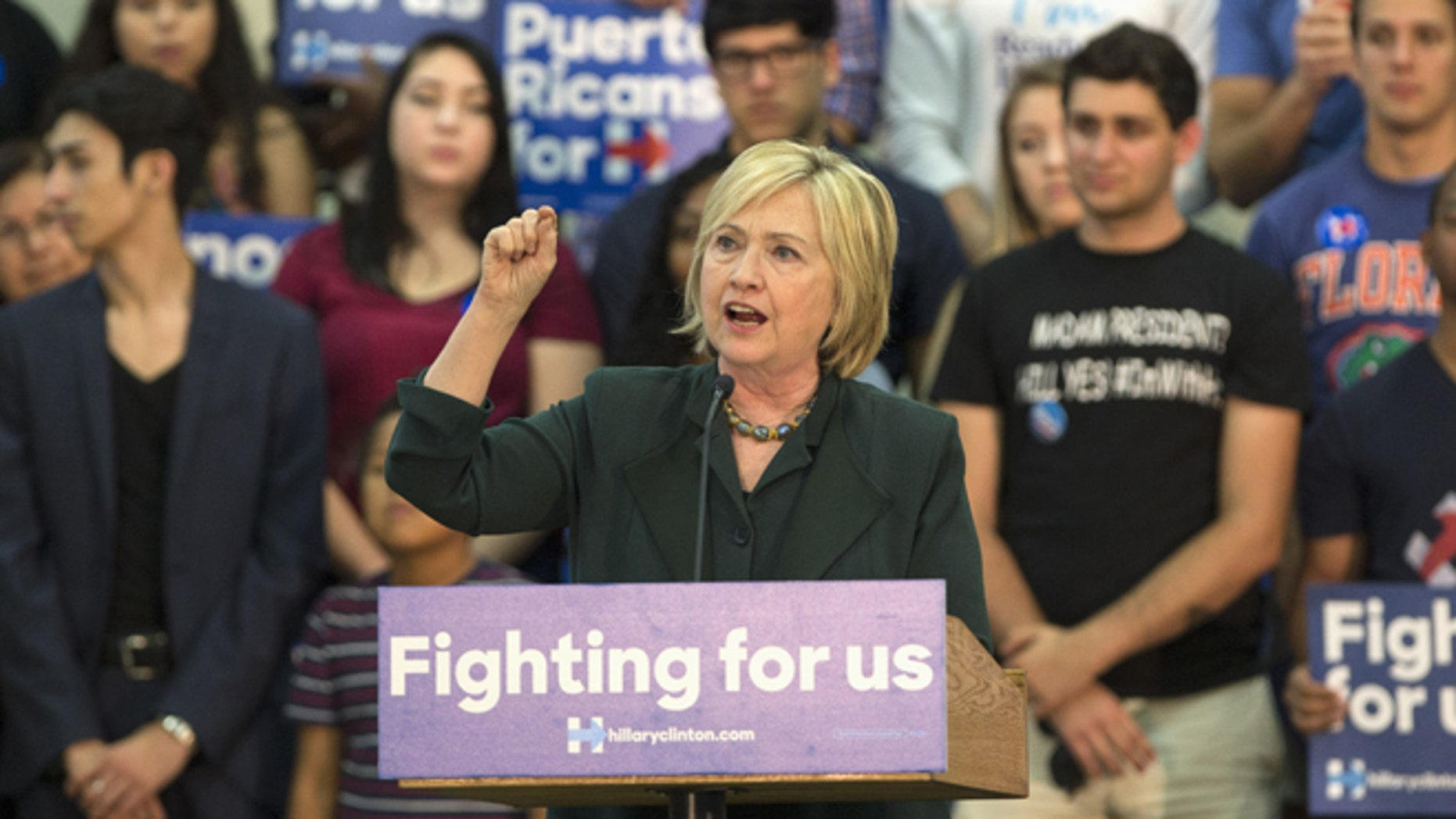 Democratic presidential candidate Hillary Clinton speaks at a Grassroots Organizing Event at the Meadow Woods Recreation Center, Wednesday, Dec., 2, 2015, in Orlando, Fla. (AP Photo/Willie J. Allen Jr.)