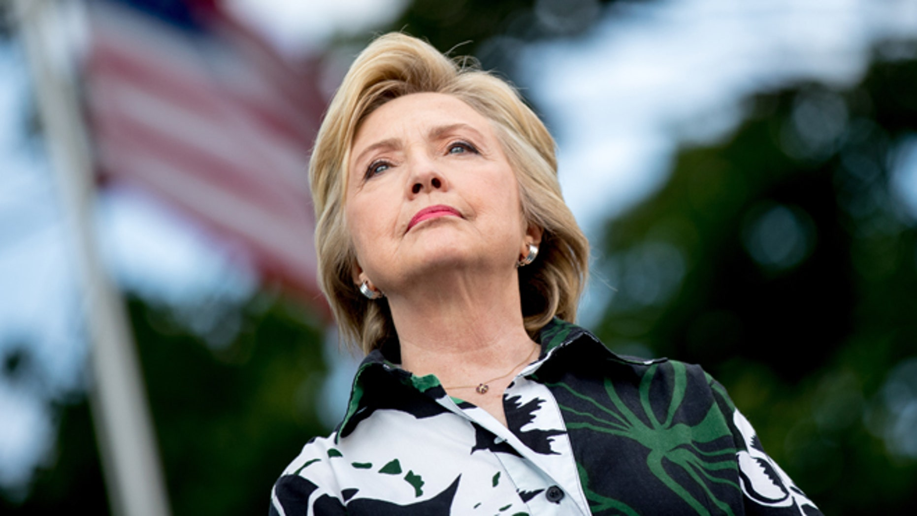 Democratic presidential candidate Hillary Clinton appears on stage at a rally a Fort Hayes Metropolitan Education Center in Columbus, Ohio, Sunday, July 31, 2016. Clinton and Kaine are on a three-day bus tour through the rust belt. (AP Photo/Andrew Harnik)
