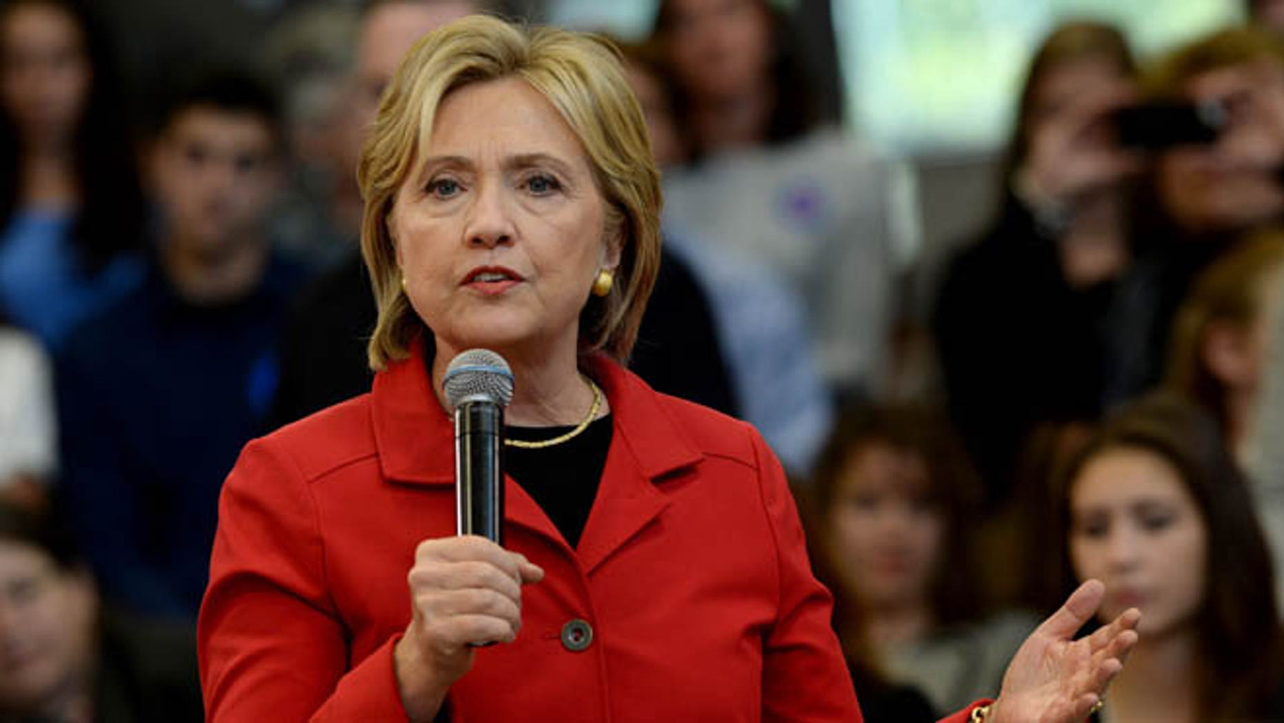 Democratic Presidential candidate Hillary Clinton speaks at a town hall event at Manchester Community College October 5, 2015 in Manchester, New Hampshire. (Photo by Darren McCollester/Getty Images)