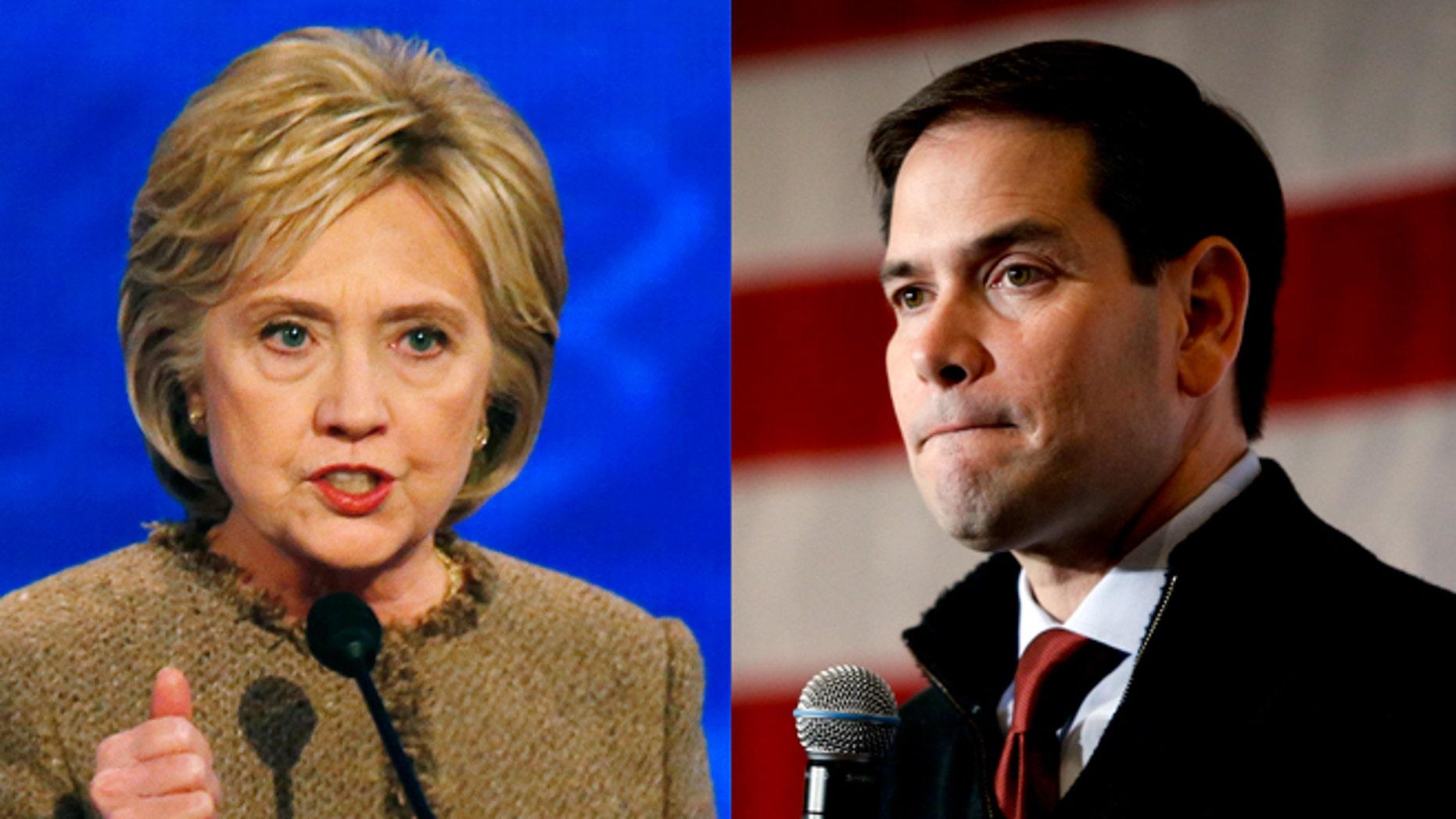 Hillary Clinton (left) and Marco Rubio. (Photos: Associated Press)