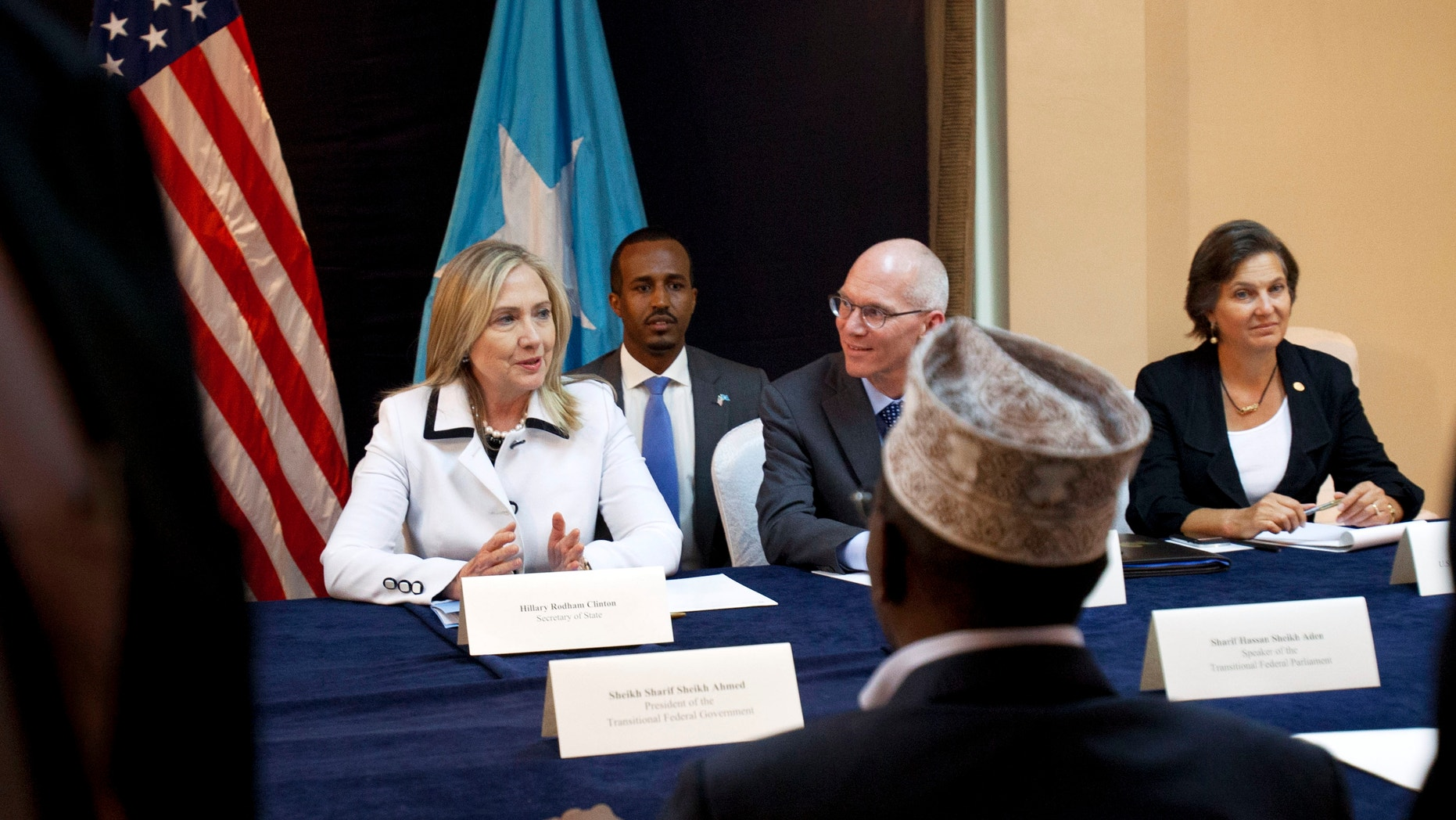 Aug. 4, 2012: U.S. Secretary of State Hillary Rodham Clinton, left, meets with meets with Somali Roadmap Signatories at the Intercontinental Hotel, in Nairobi, Kenya.