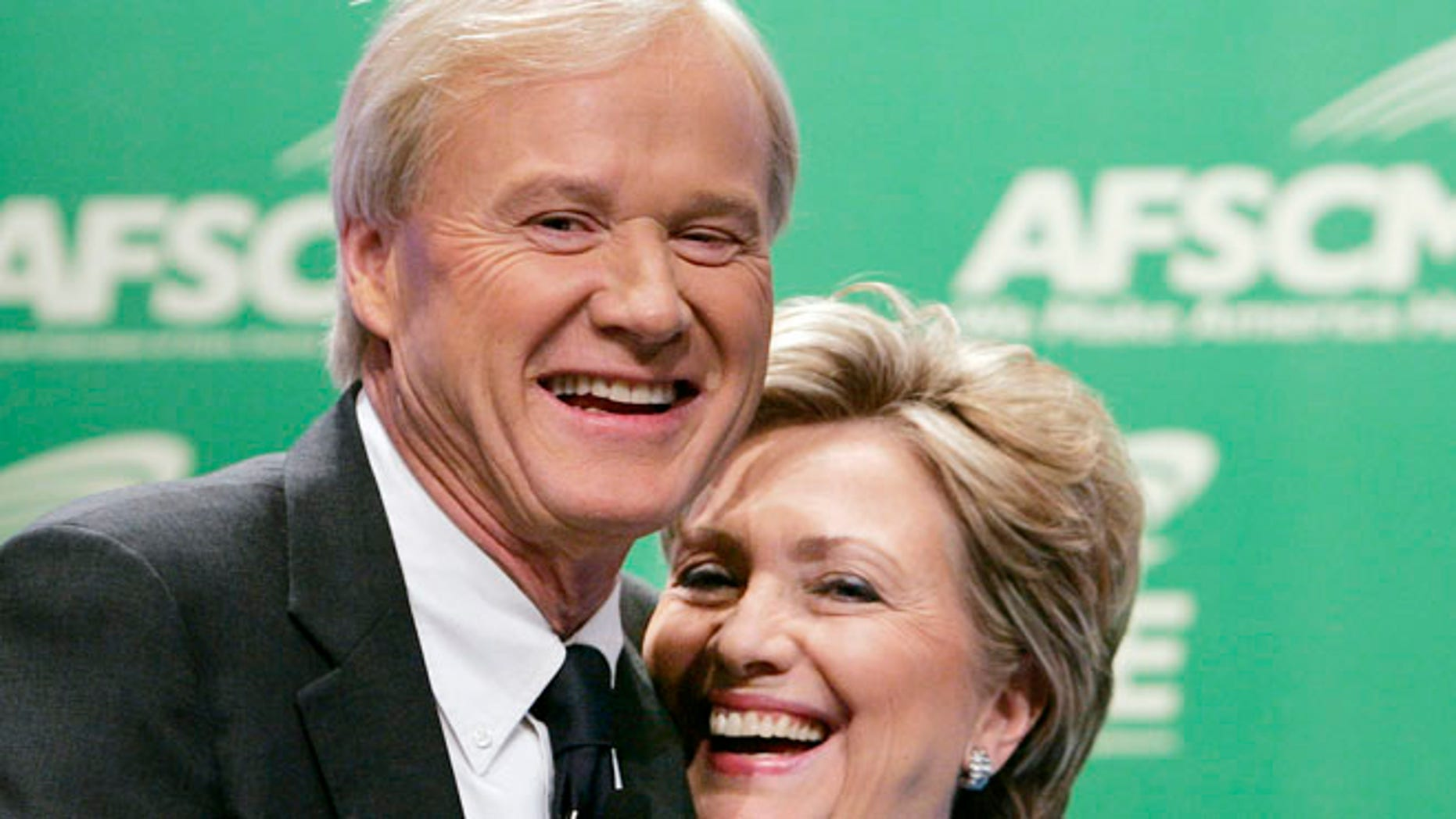 FILE: 2007: Presidential candidate Hillary Clinton, D-N.Y., and MSNBC personality Chris Matthews at a AFSCME Democratic Presidential Forum in Washington, D.C.