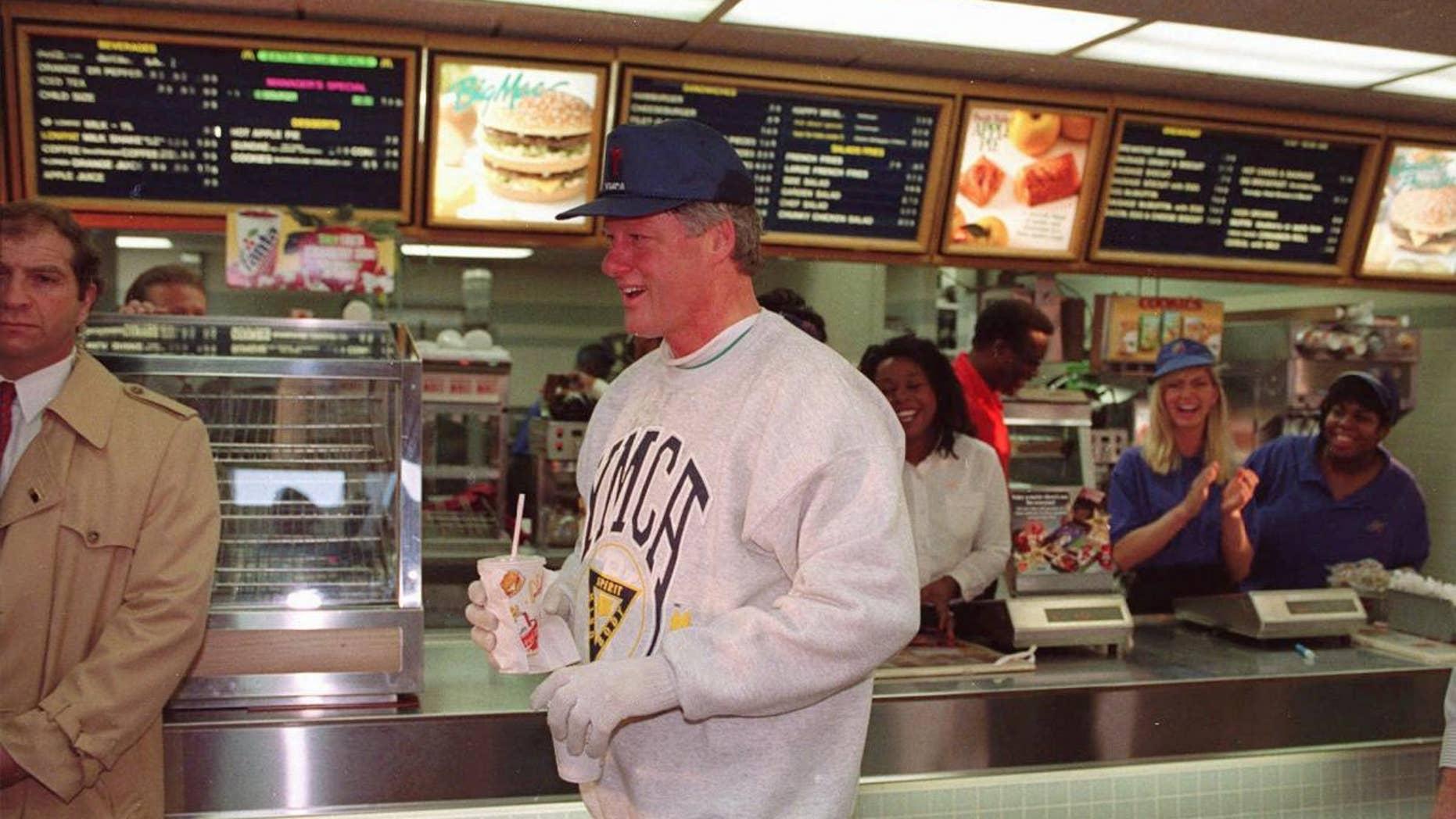 Then-President Clinton leaves an Arkansas McDonald's, sans Big Mac, in this 1993 AP File Photo