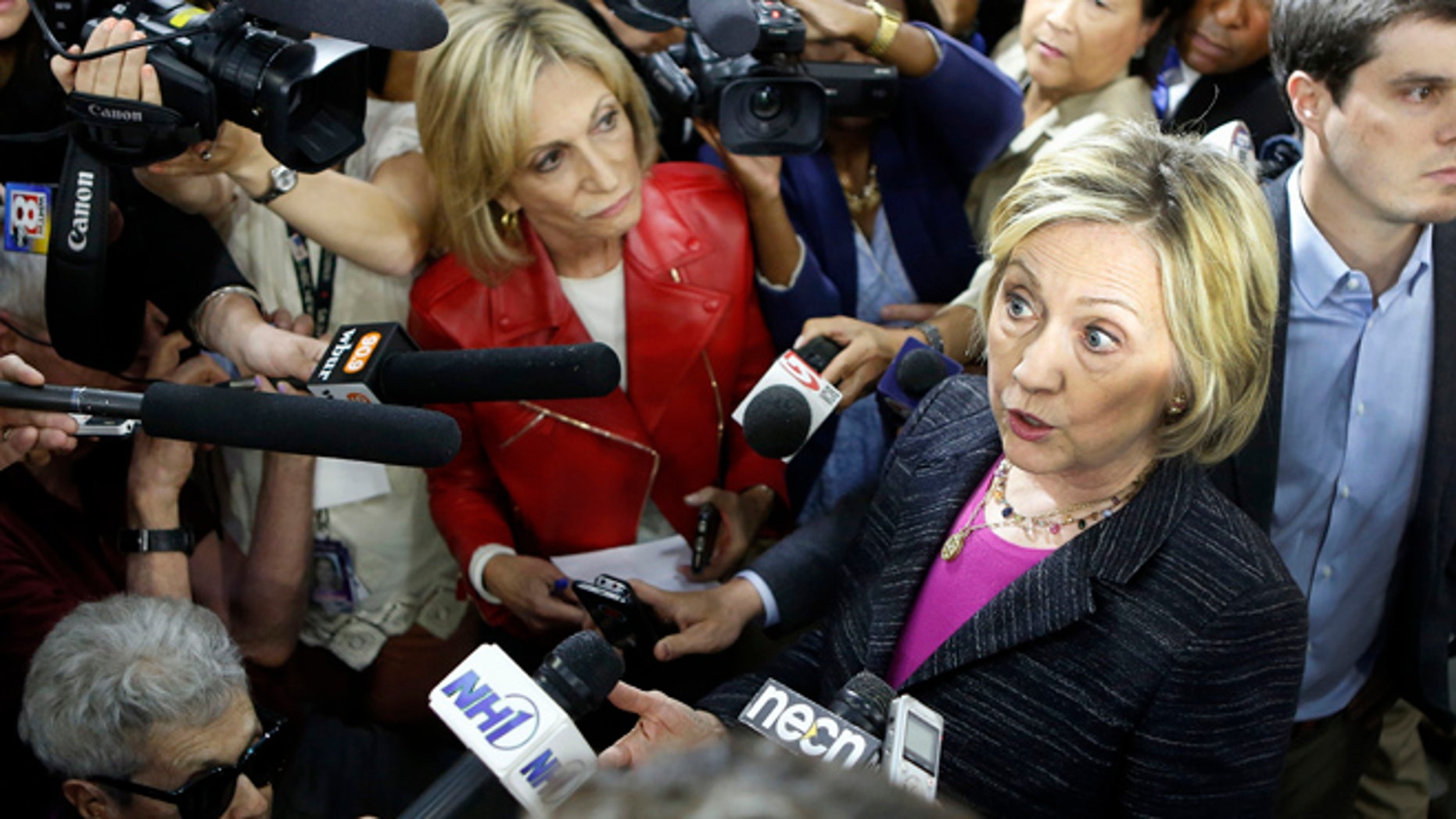 Friday, May 22, 2015: Democratic presidential candidate Hillary Rodham Clinton speaks to reporters after a round table discussion at Smuttynose Brewery, in Hampton, N.H.