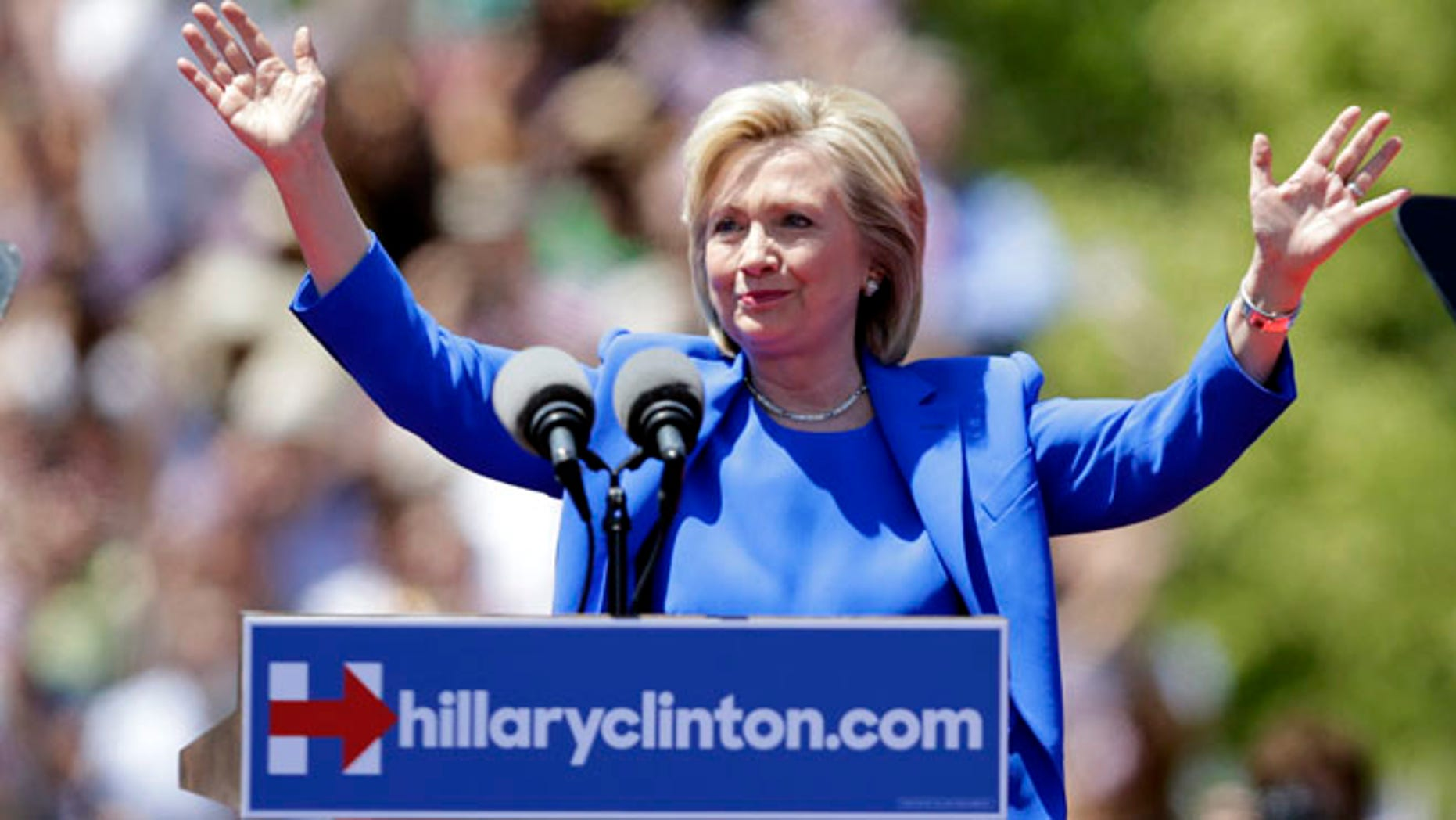 Saturday, June 13, 2015: Hillary Clinton, on Roosevelt Island, speaking at her formal presidential campaign launch, New York, N.Y.