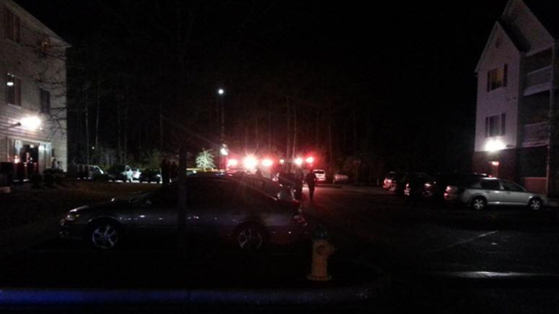 Feb. 26, 2013: Authorities surround the scene of a shooting at an off-campus housing complex near Coastal Carolina University in South Carolina.