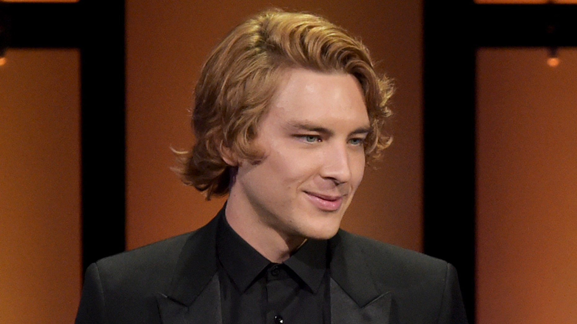 Cody Fern speaks at the Hollywood Foreign Press Association Grants Banquet at The Beverly Hilton hotel on Thursday, Aug. 9, 2018, in Beverly Hills, Calif.